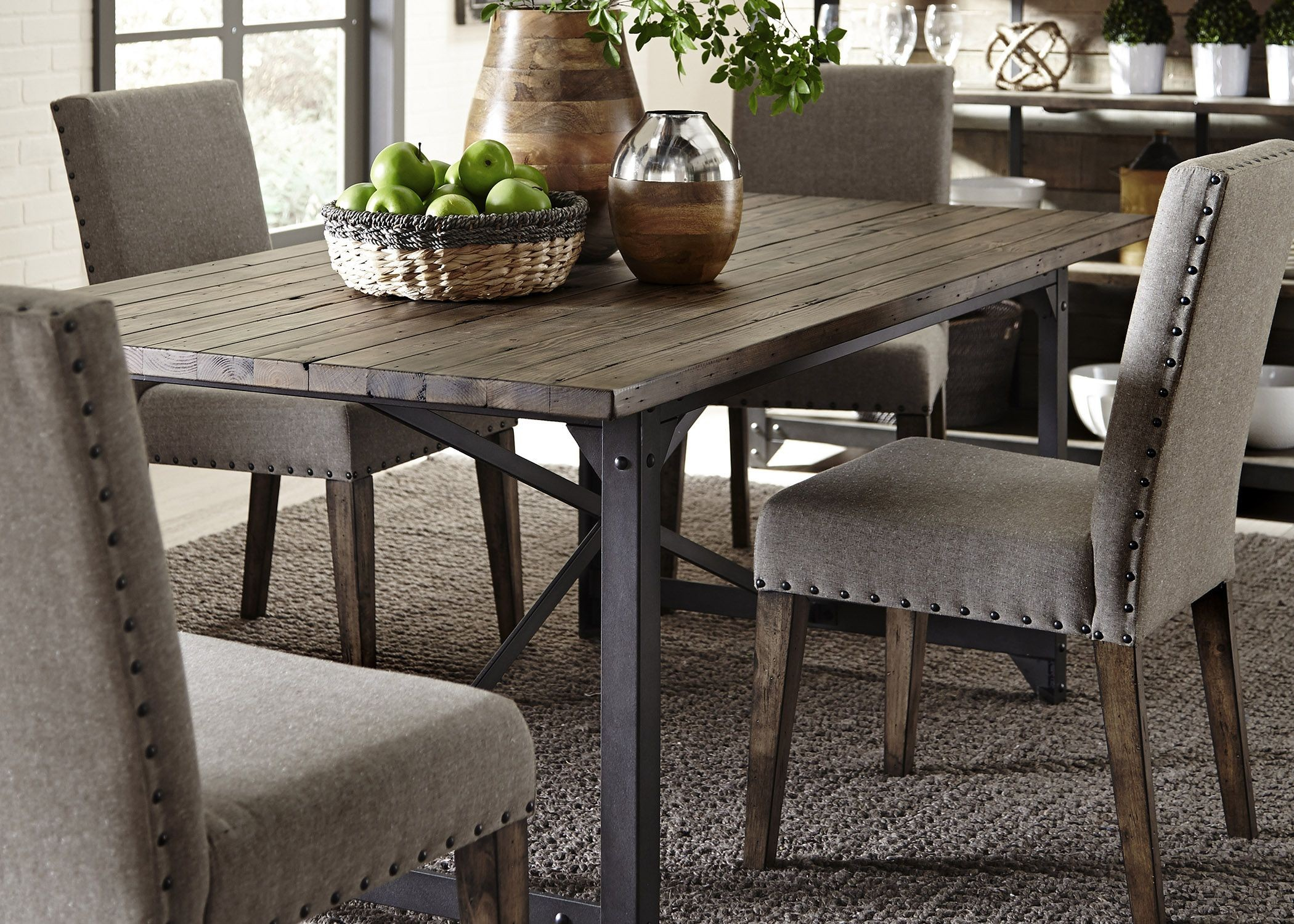 Caldwell Dining Brown Trestle Dining Room Set Media Gallery 4
