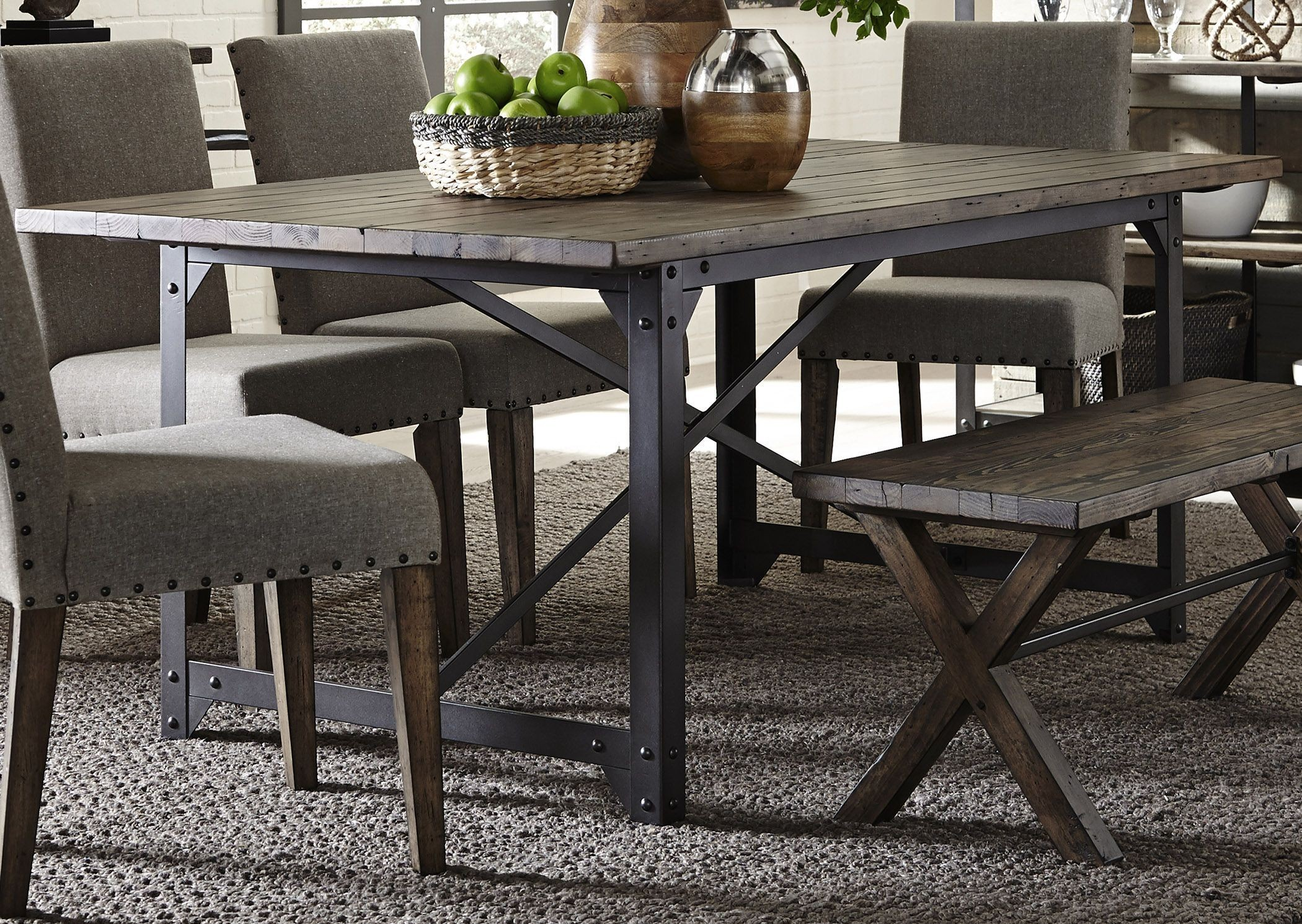 Caldwell Dining Brown Trestle Dining Room Set Media Gallery 3