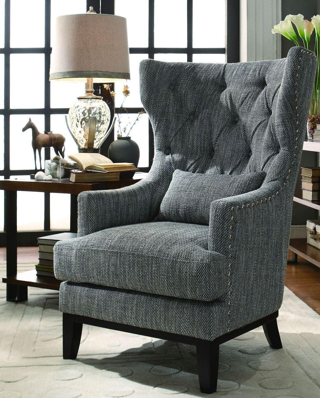 Homelegance Adriano Dark Grey Fabric Accent Chair Adrian