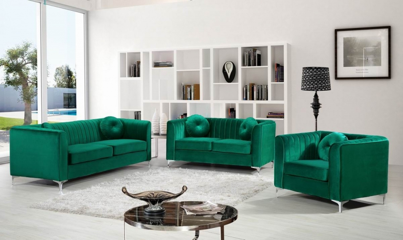 Awe Inspiring Meridian Isabelle 2 Piece Living Room Set In Green Pdpeps Interior Chair Design Pdpepsorg