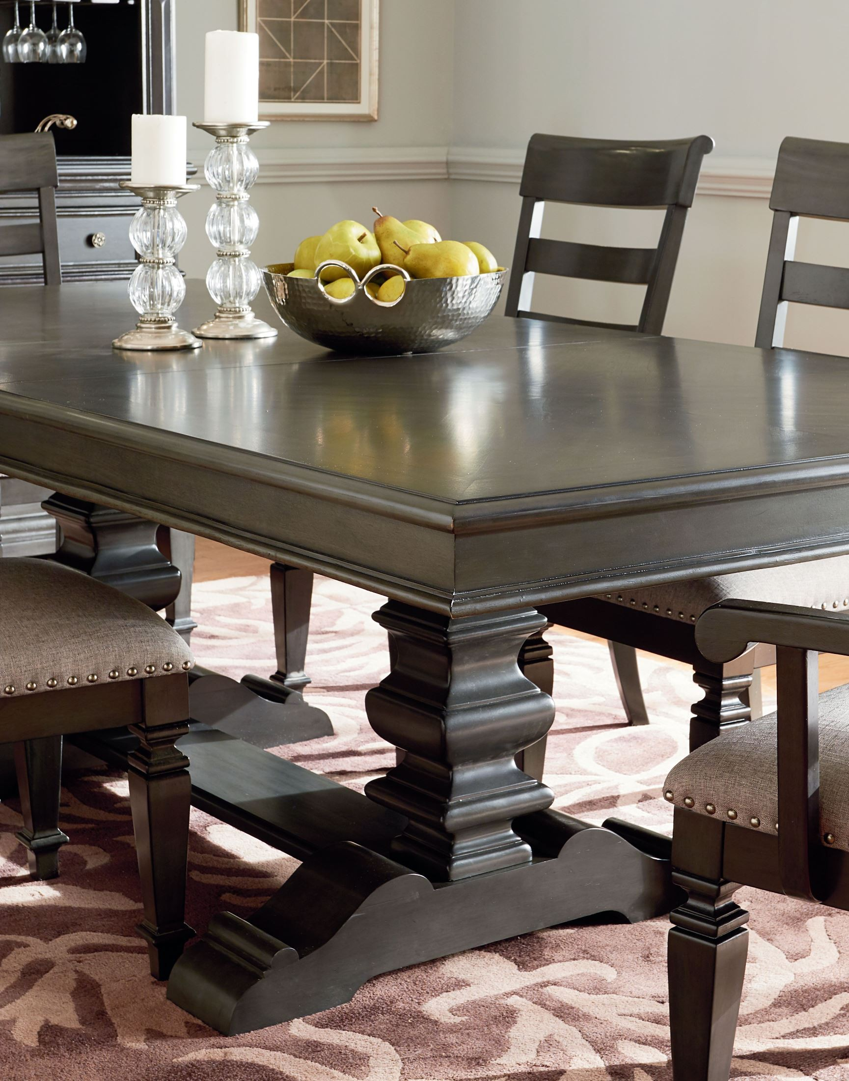 Standard Furniture Garrison Burnished Grey Extendable Trestle Dining