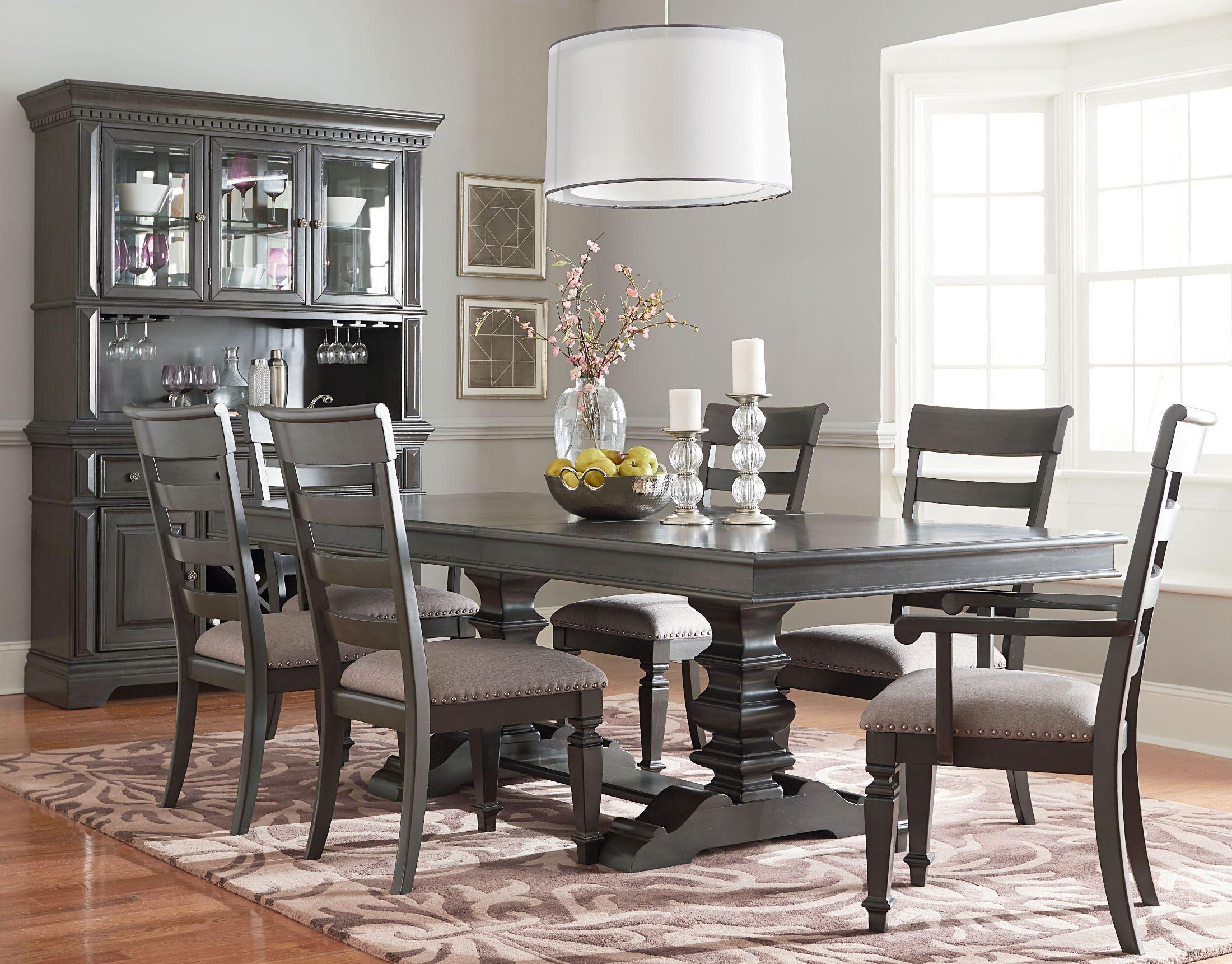 Garrison Burnished Grey Extendable Trestle Dining Room Set
