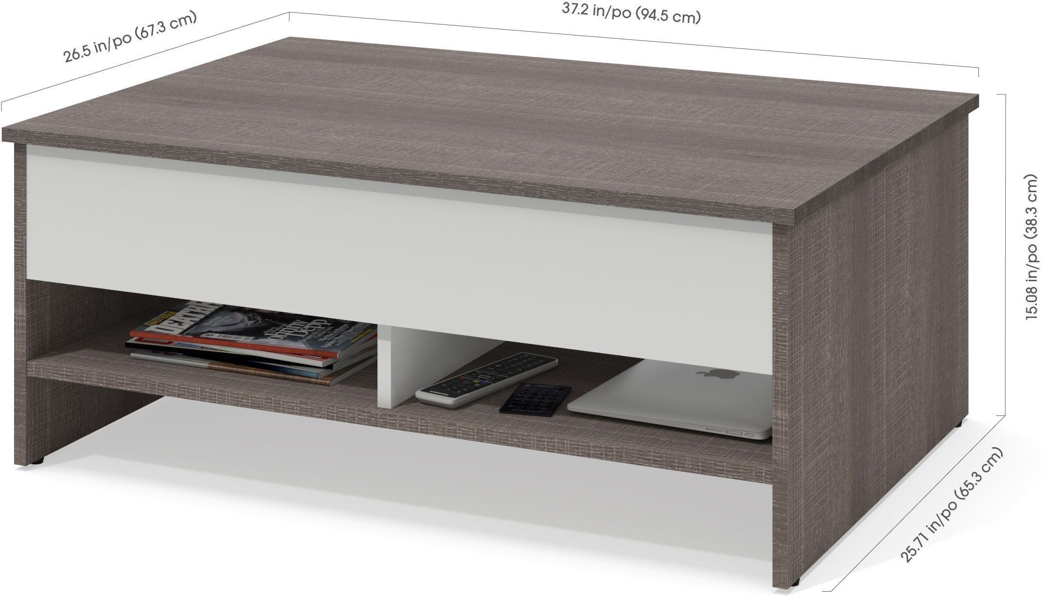 Small Space Bark Gray And White Lift Top Storage Coffee
