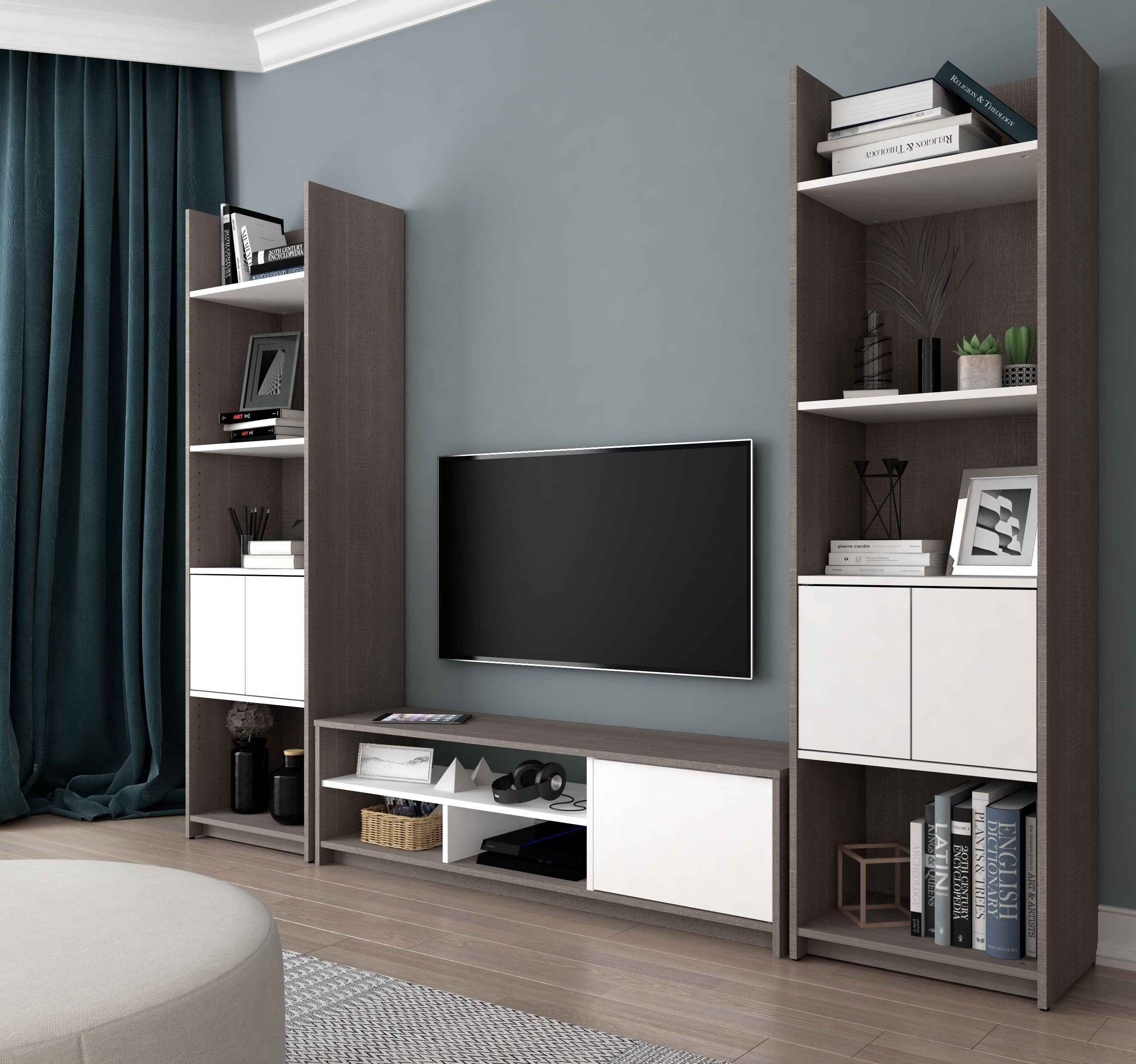 Bestar Small Space Bark Gray And White Tv Stand With 2 Storage