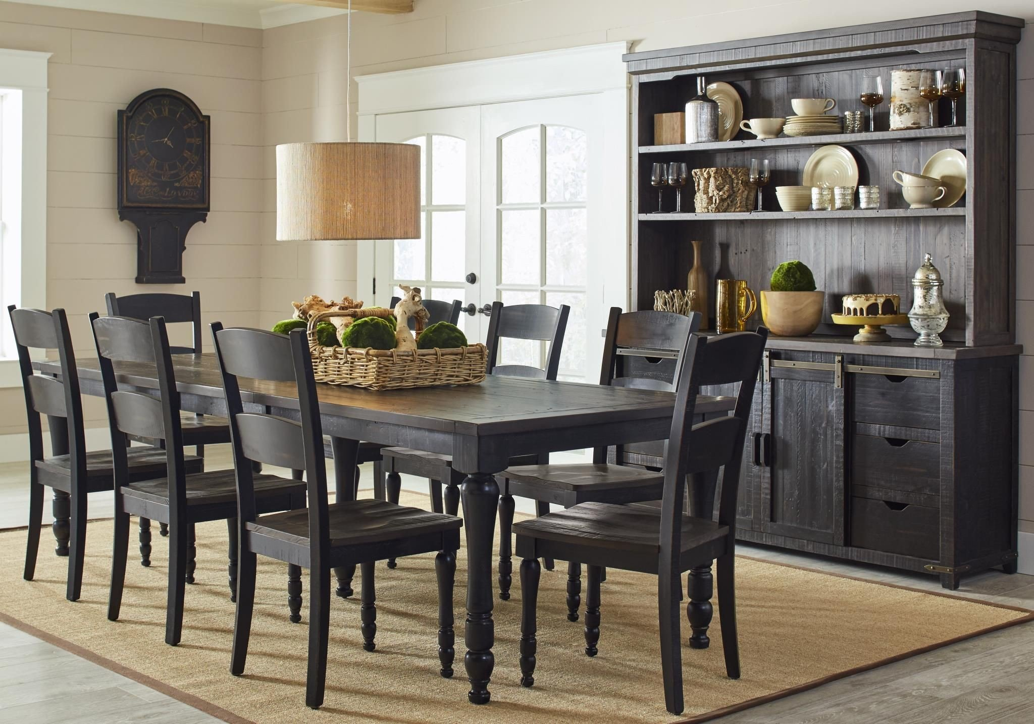 Madison County Vintage Black Rectangular Extendable Dining Room Set 1stopbedrooms