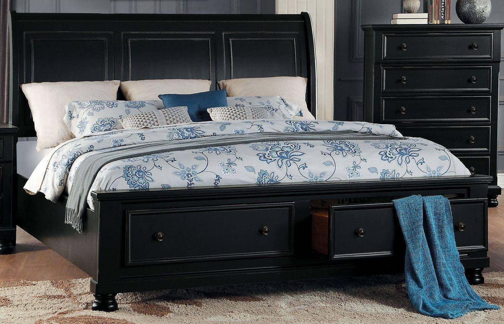 Homelegance Laurelin Black Sleigh Storage Bedroom Set - Laurelin ...