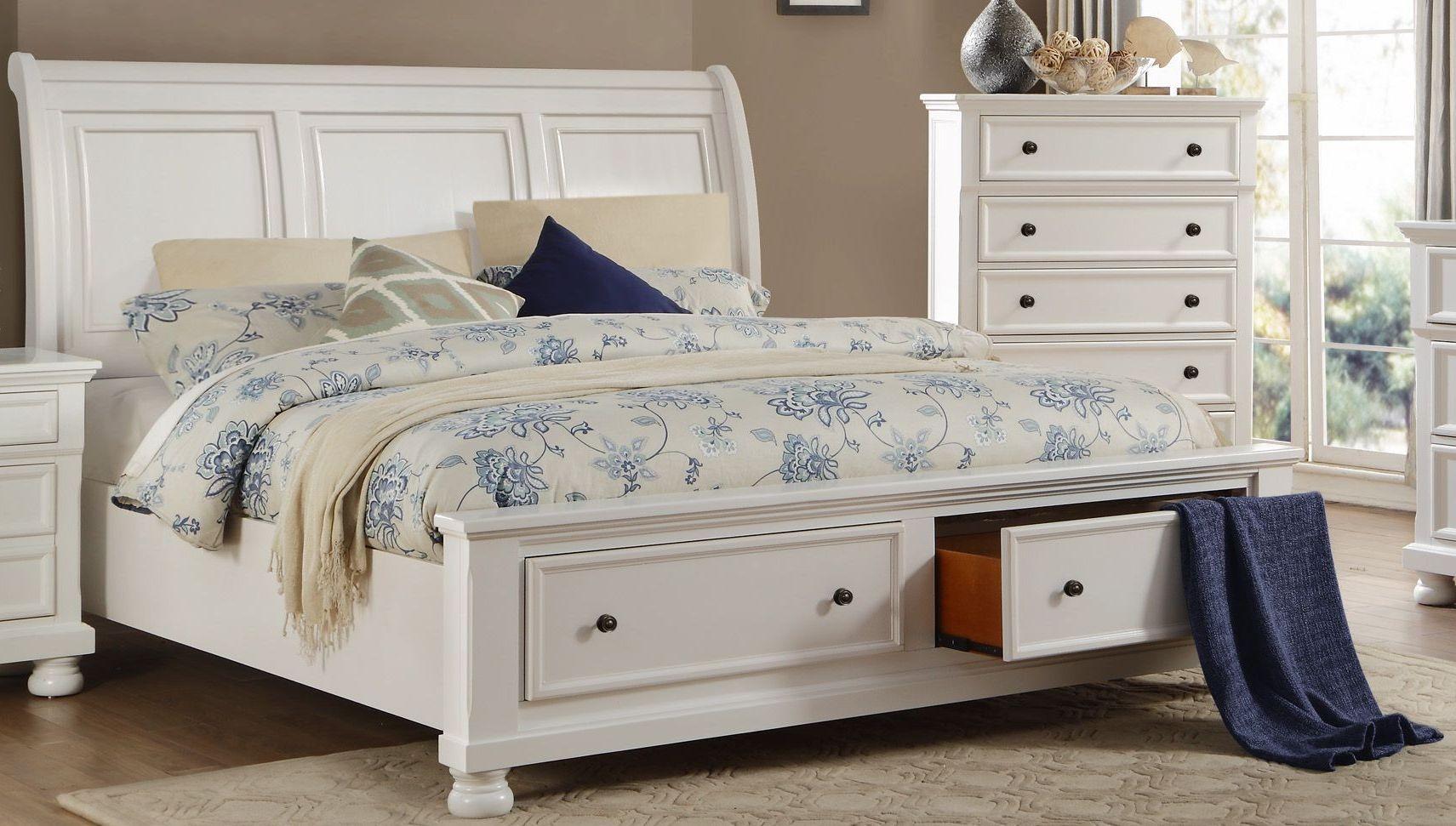 Homelegance Laurelin White Sleigh Storage Bedroom Set - Laurelin ...