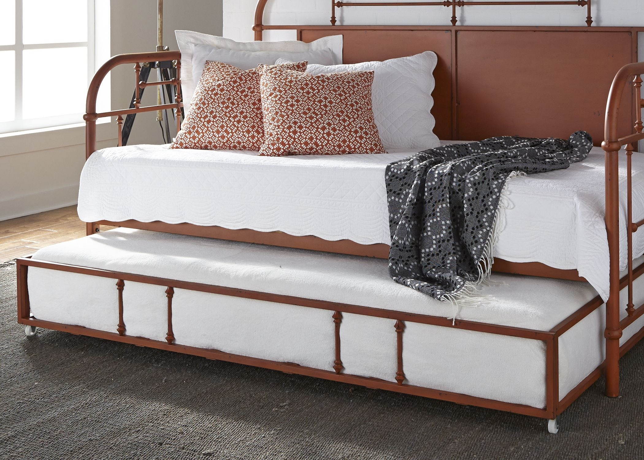 Vintage Distressed Orange Twin Metal Daybed With Trundle