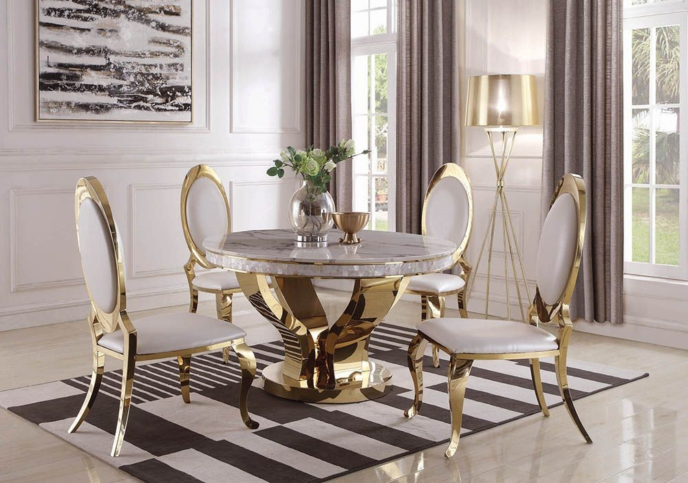 Kendall Gold And White Dining Room Set - 1StopBedrooms.