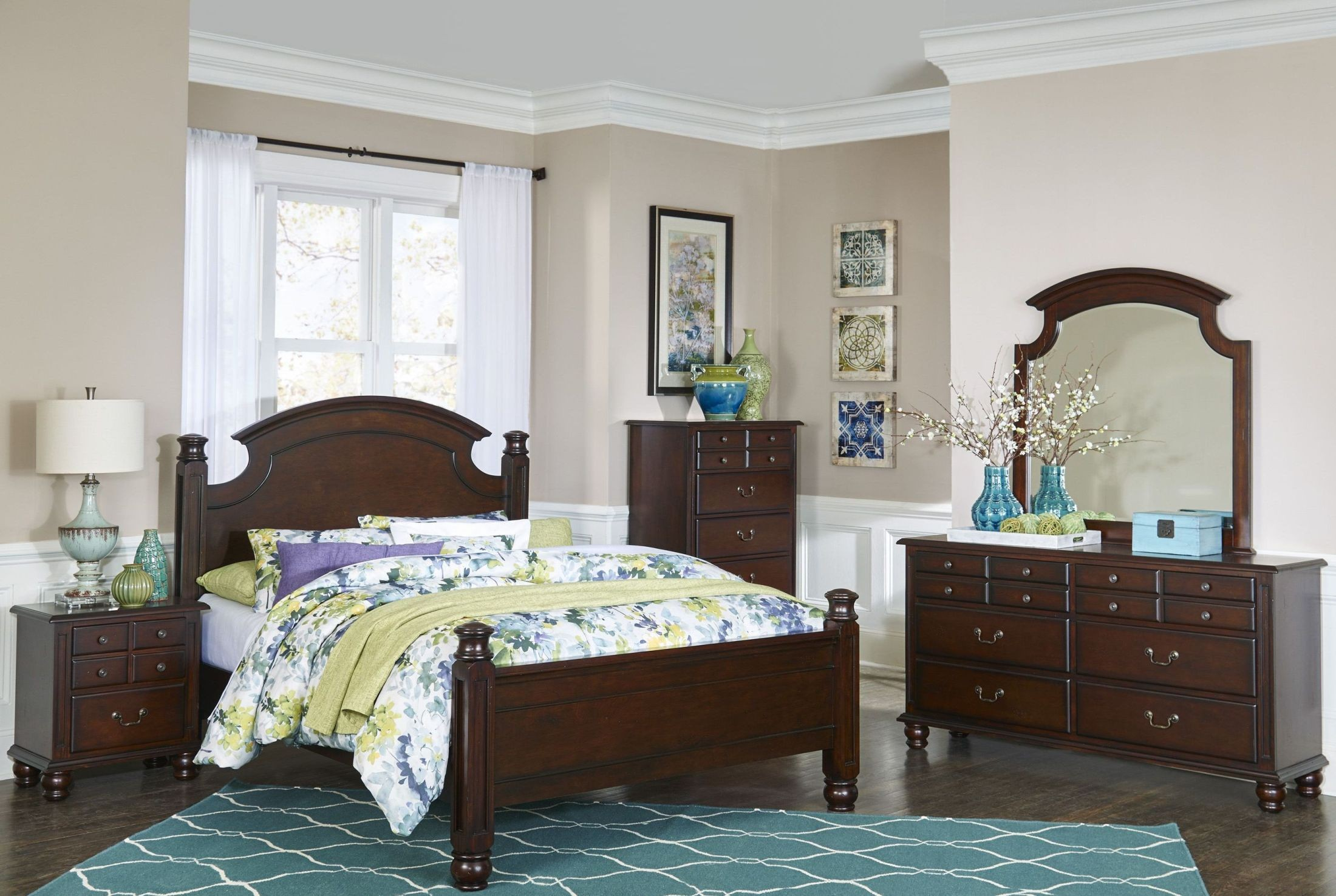 Frederica Dark Cherry Panel Bedroom Set Media Gallery ...