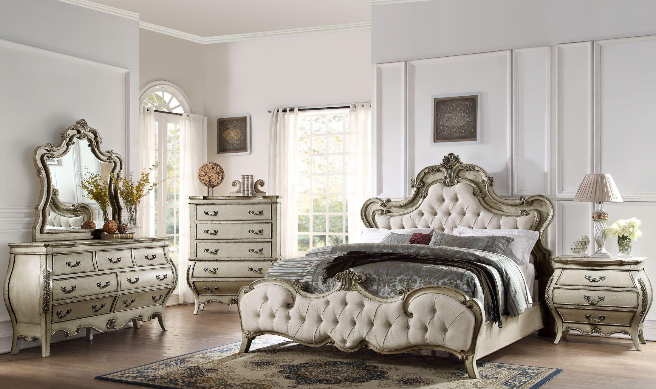 Grey Vintage Bedroom: Elsmere Antique Grey Upholstered Bedroom Set