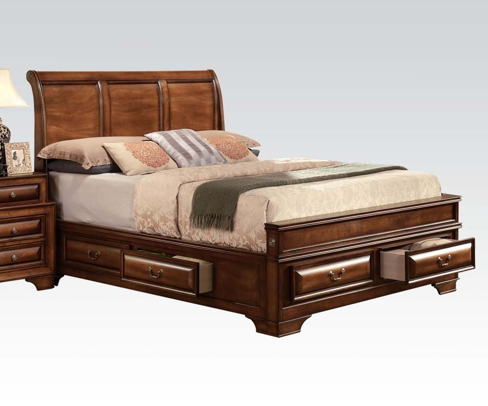- Acme Konane Queen Sleigh Bed With Underbed Storage In Brown Cherry