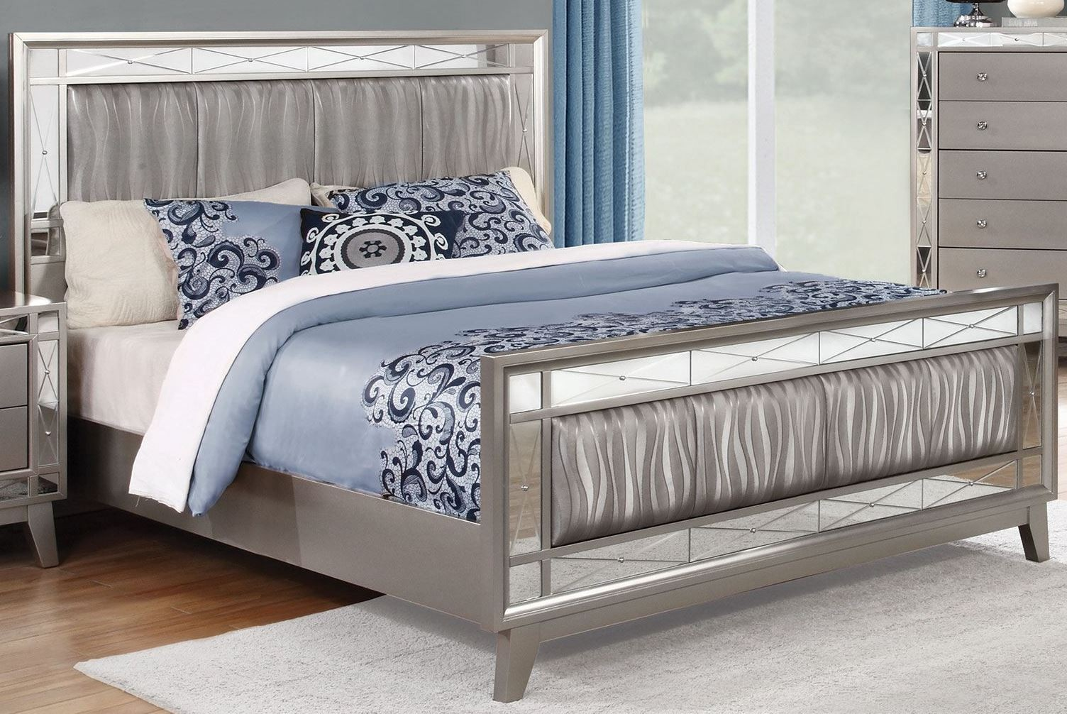 Leighton metallic mercury panel bedroom set 1stopbedrooms - Bedroom furniture sets buy now pay later ...