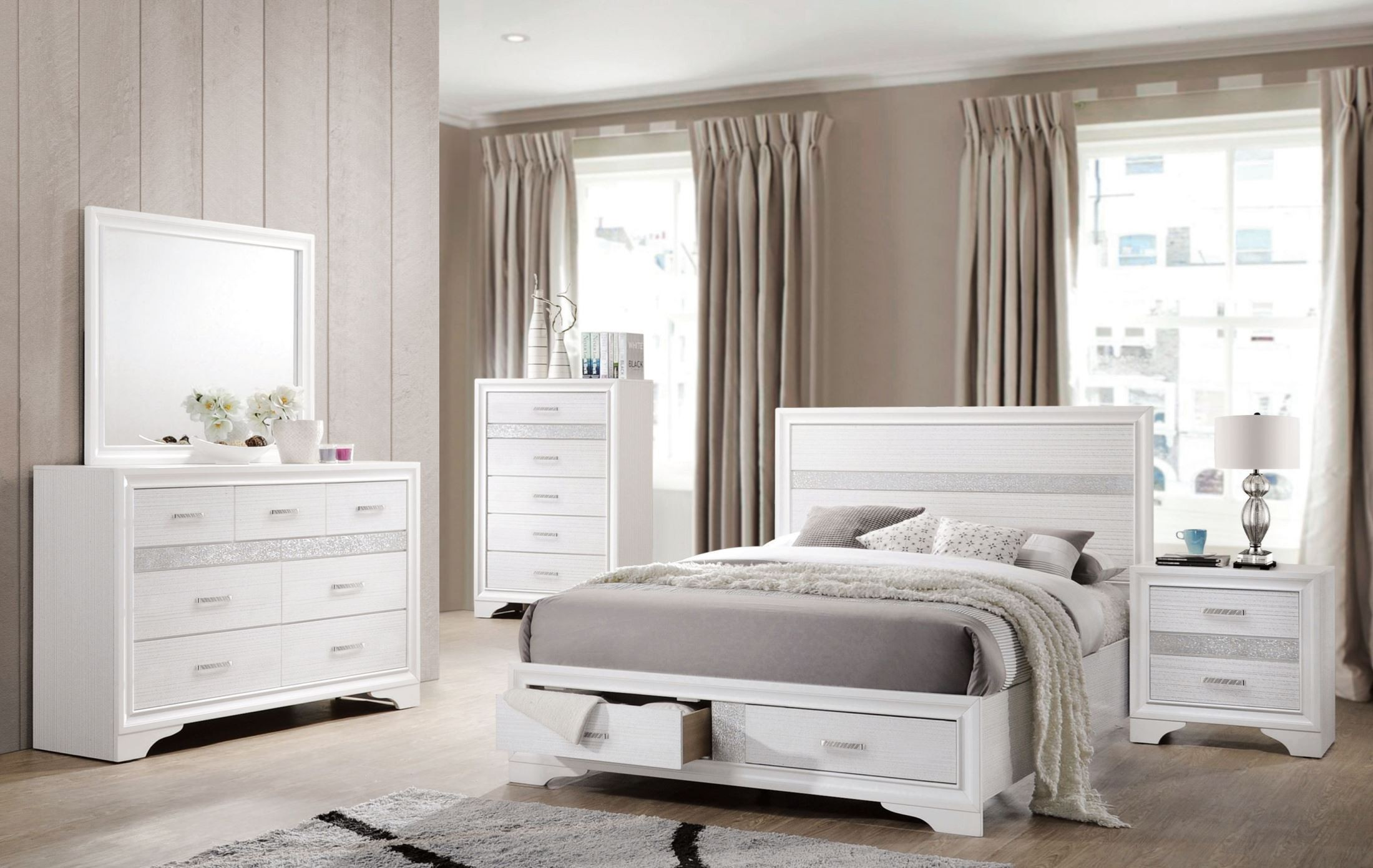 Miranda White Storage Platform Bedroom Set Media Gallery