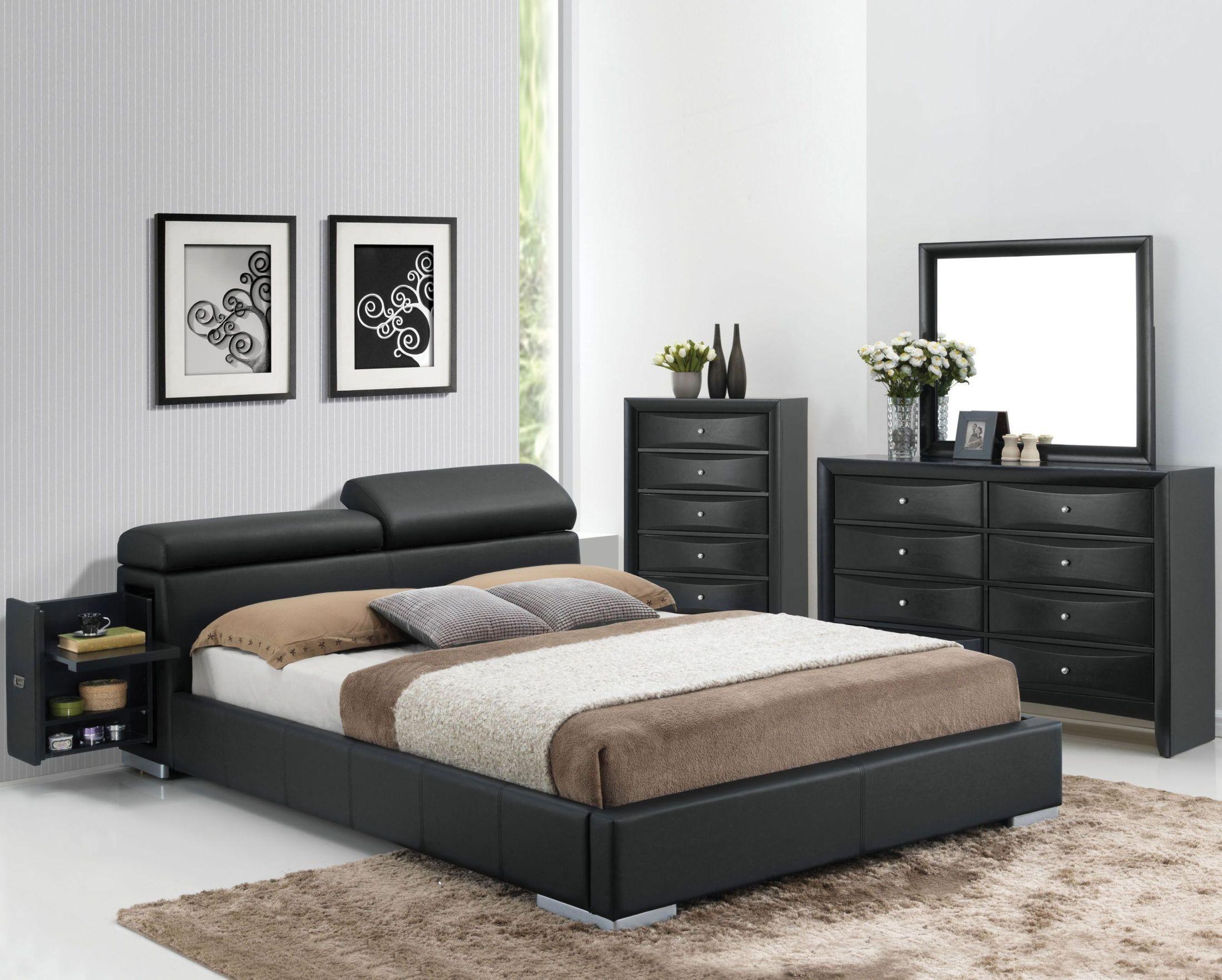 Manjot Black Bedroom Set Hidden Storage Platform Bedroom Set