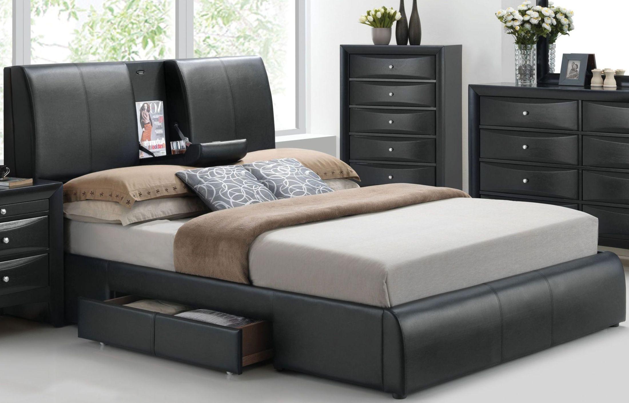 kofi black upholstered platform storage bedroom set