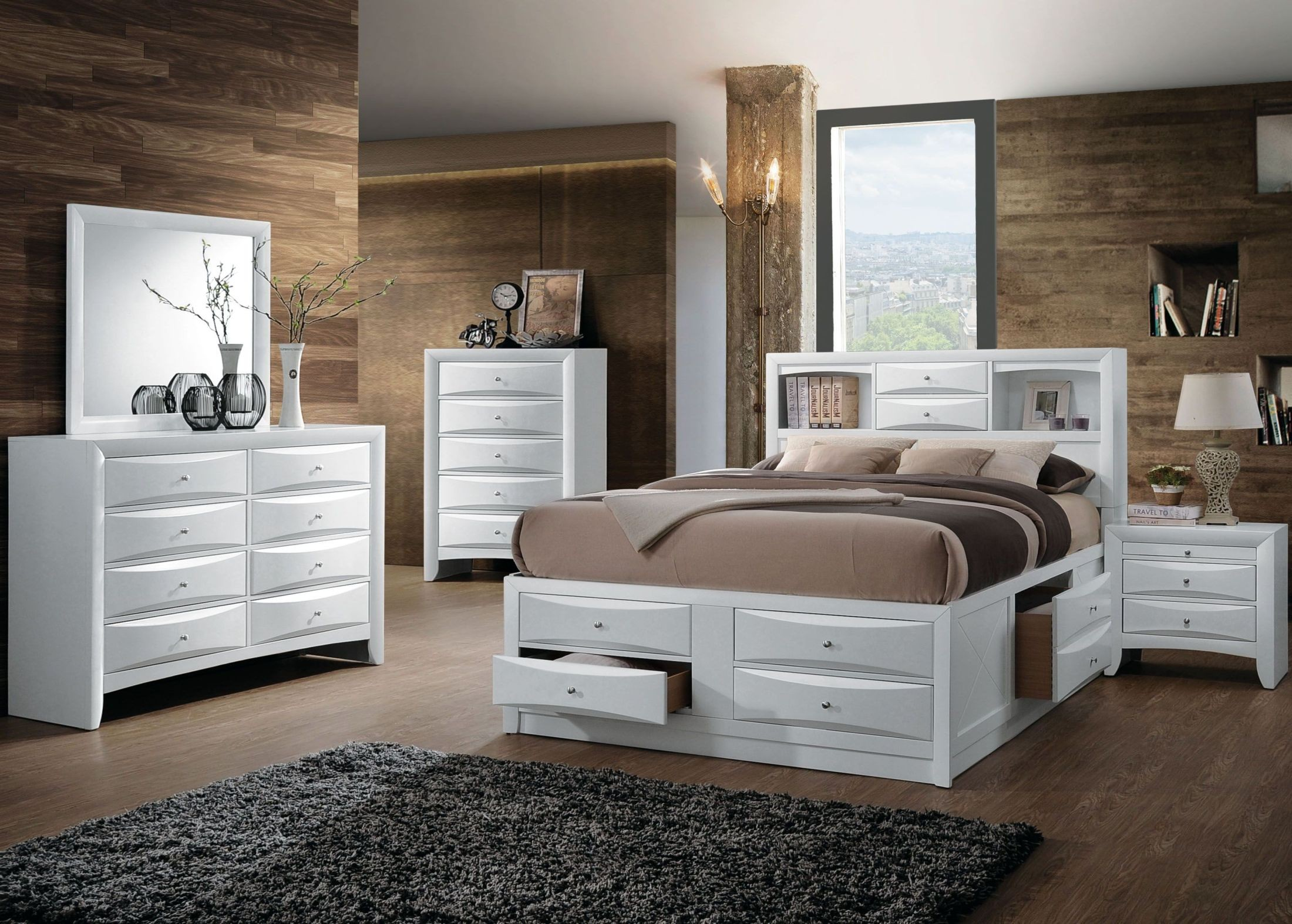 Acme ireland white youth bookcase storage bedroom set - Youth bedroom furniture with storage ...