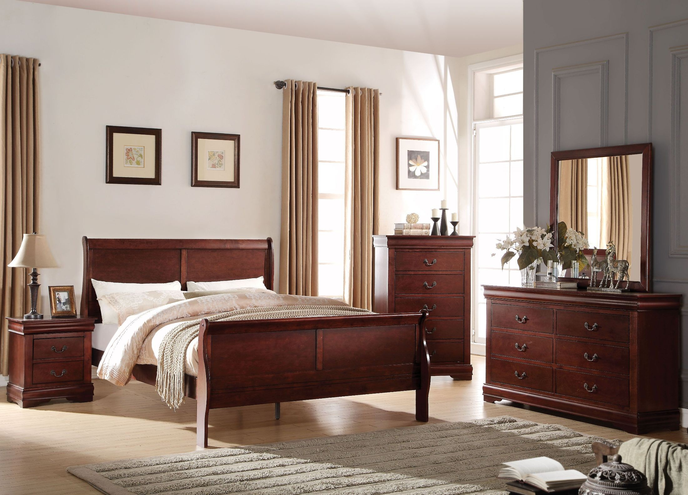 Acme louis philippe cherry youth sleigh bedroom set - Louis philippe bedroom collection ...