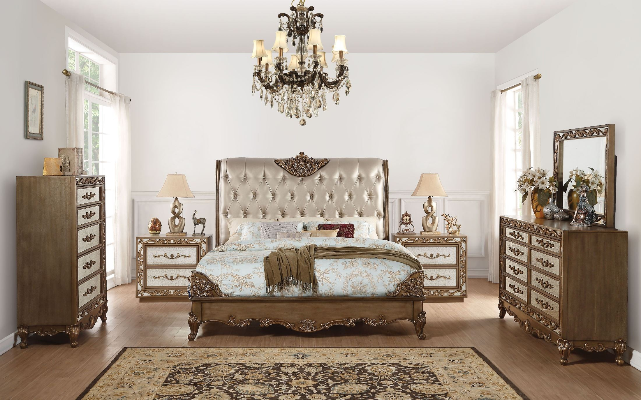 Orianne Champagne Antique Gold Upholstered Panel Bedroom