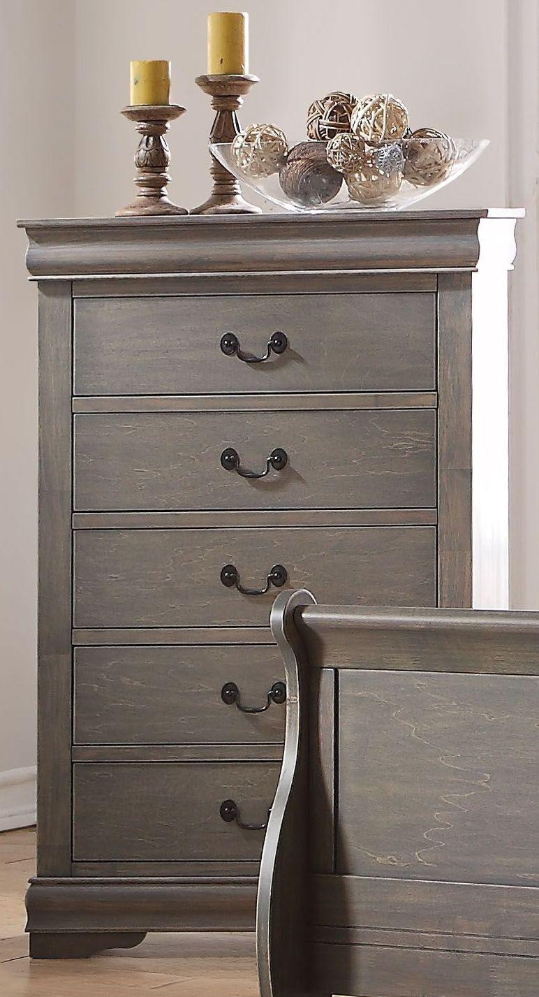 Acme louis philippe antique gray sleigh bedroom set - Louis philippe bedroom collection ...