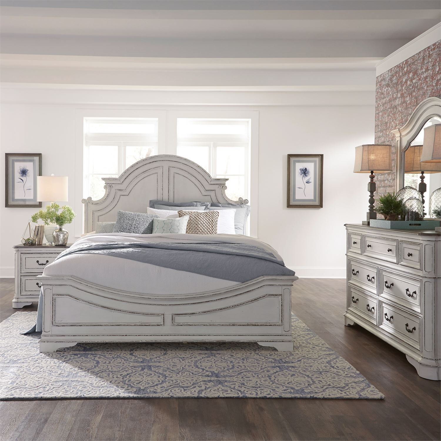 Magnolia manor antique white panel bedroom set - White vintage bedroom furniture sets ...