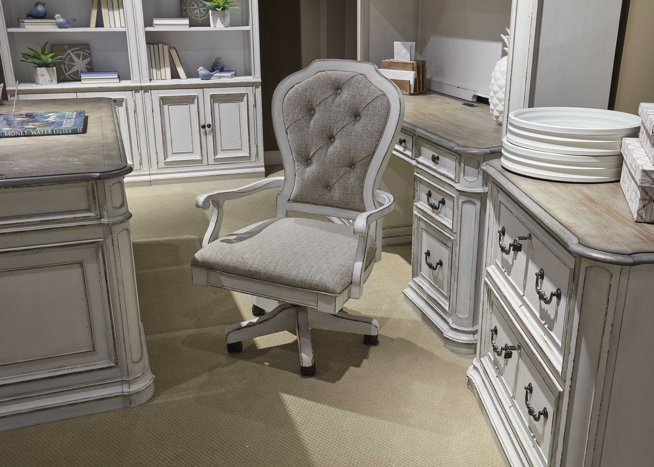 Magnolia Manor Antique White Jr Executive Desk Chair Media Gallery