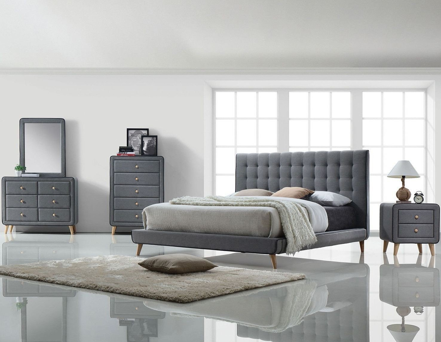 Valda Light Gray Bedroom Set