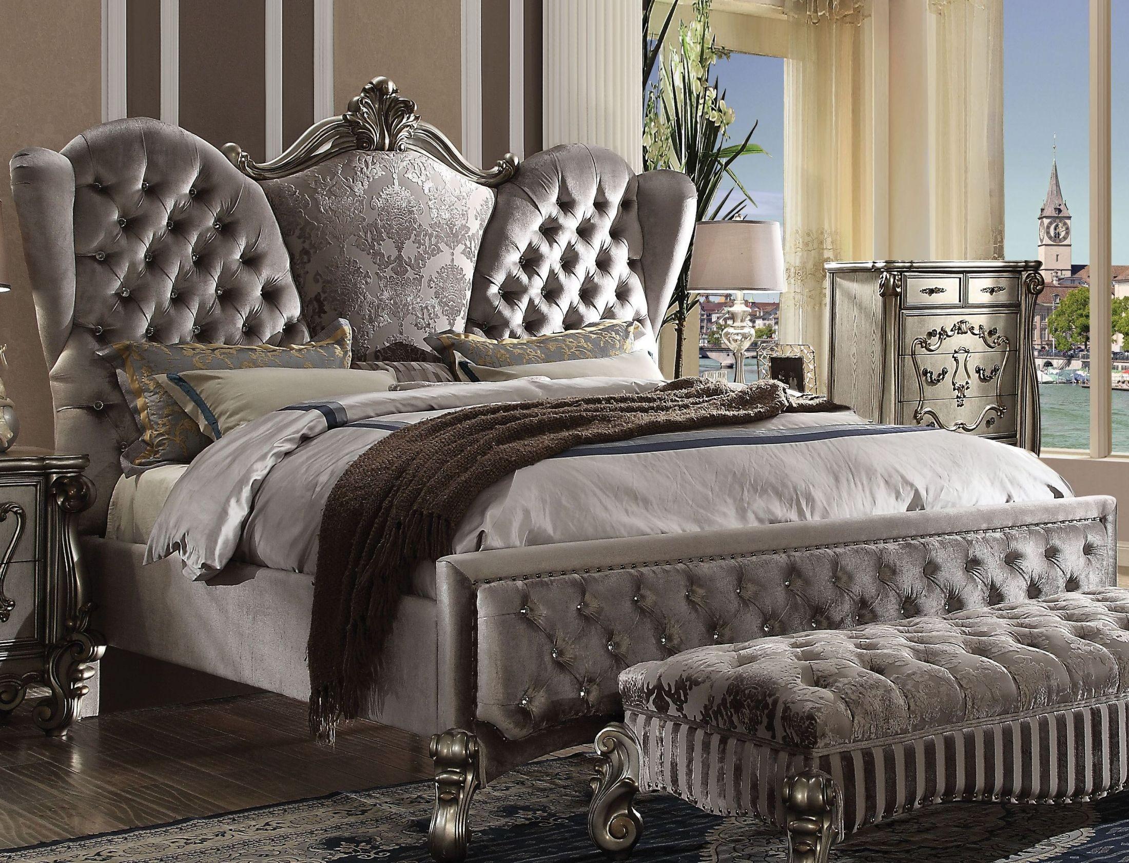 Versailles Velvet and Antique Platinum Upholstered Panel ...