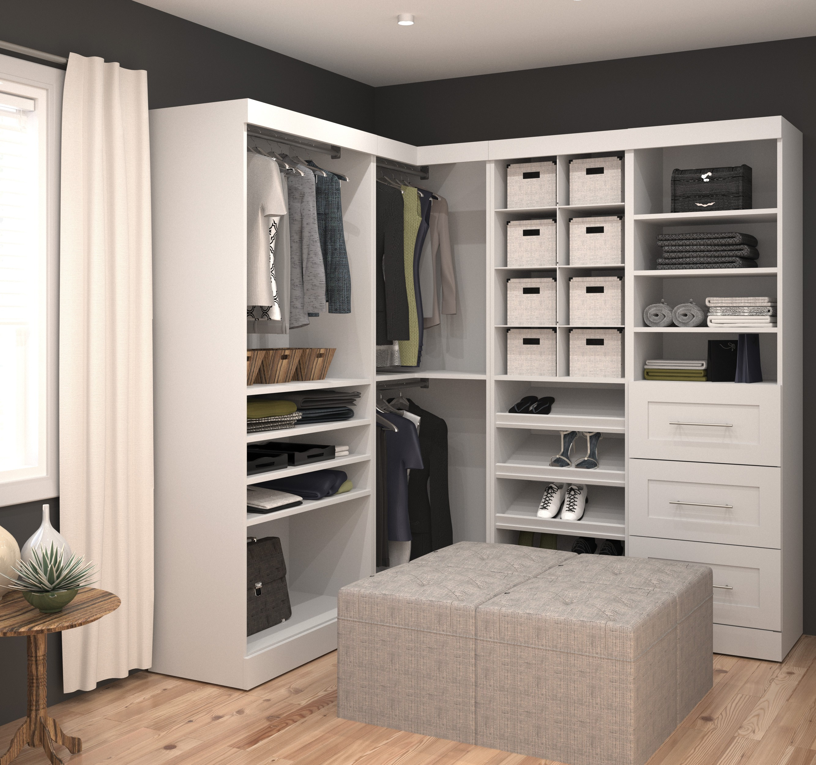 """Open Bedroom Storage: Pure White 82"""" Corner Open Storage Unit With 3 Drawers"""