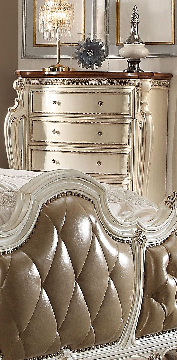 Picardy antique pearl upholstered panel bedroom set - Bedroom furniture sets buy now pay later ...