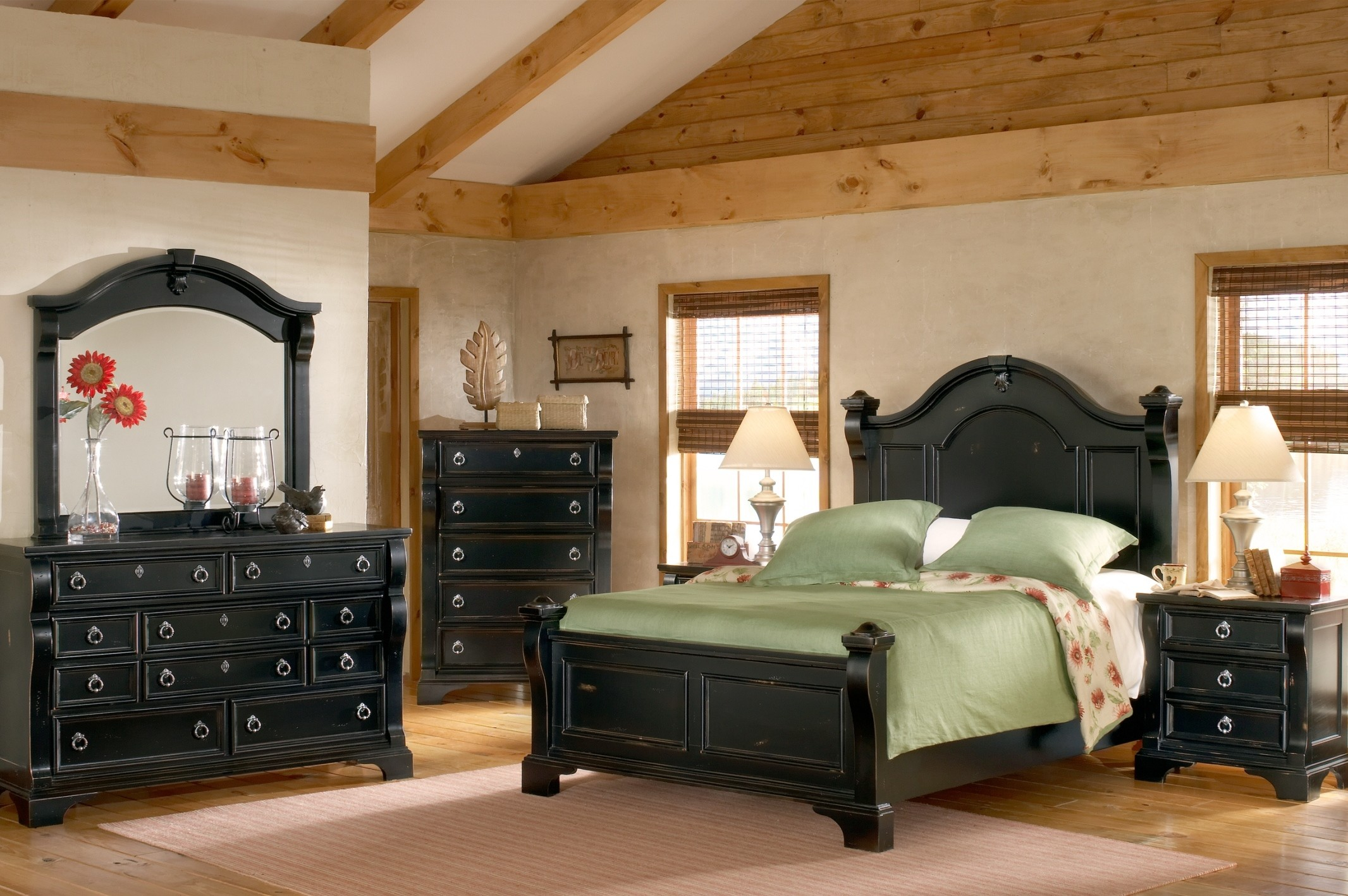 American Woodcrafters Heirloom Black Poster Bedroom Set