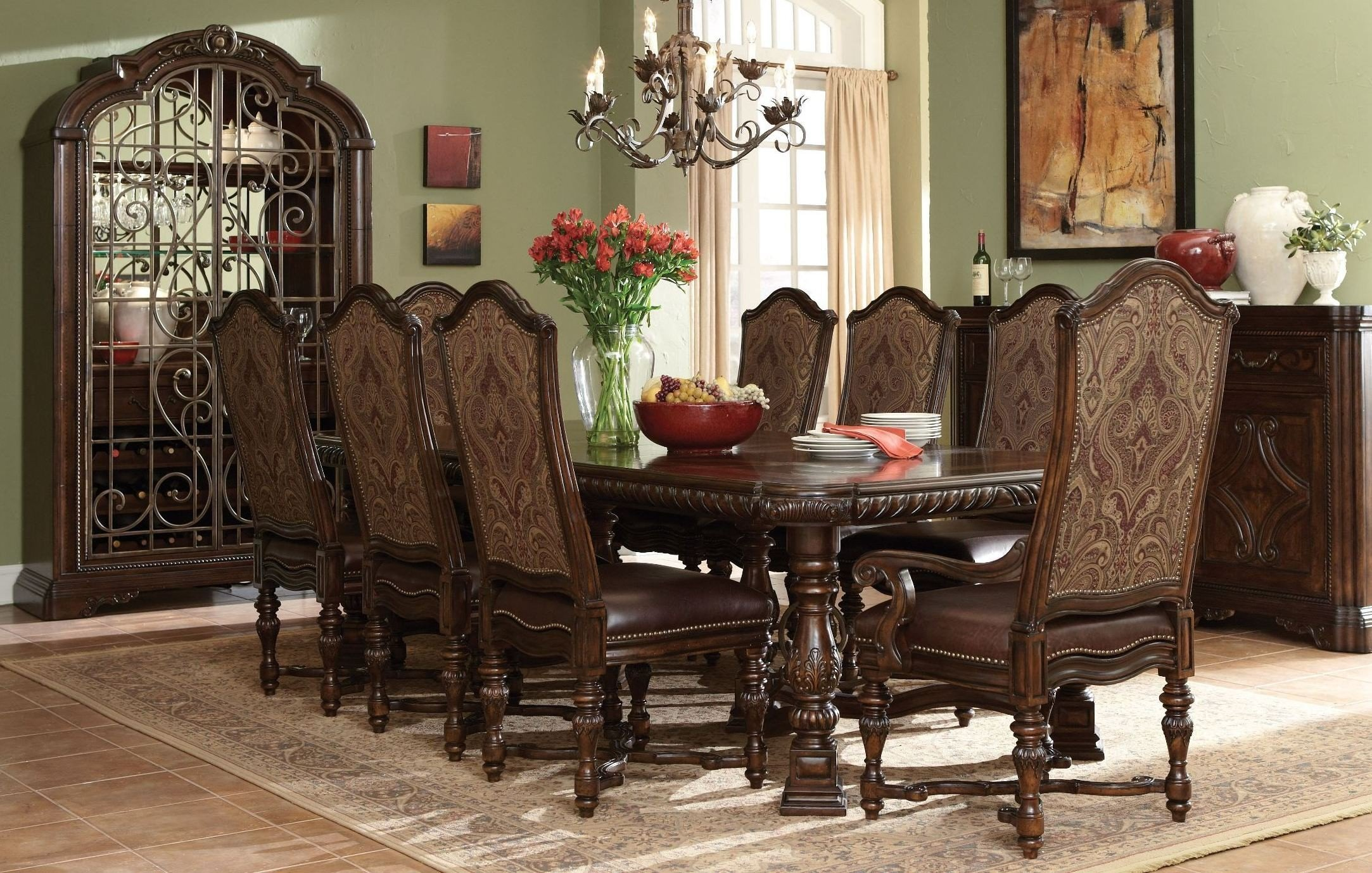 Valencia Trestle Extendable Dining Room Set 1stopbedrooms