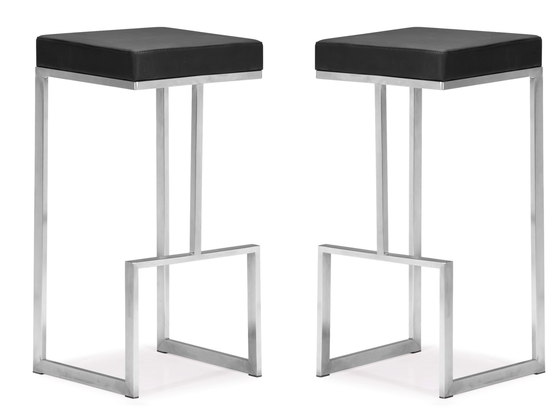 Set of 2 Zuo Darwen Bar Chairs Black Zuo Modern 300045