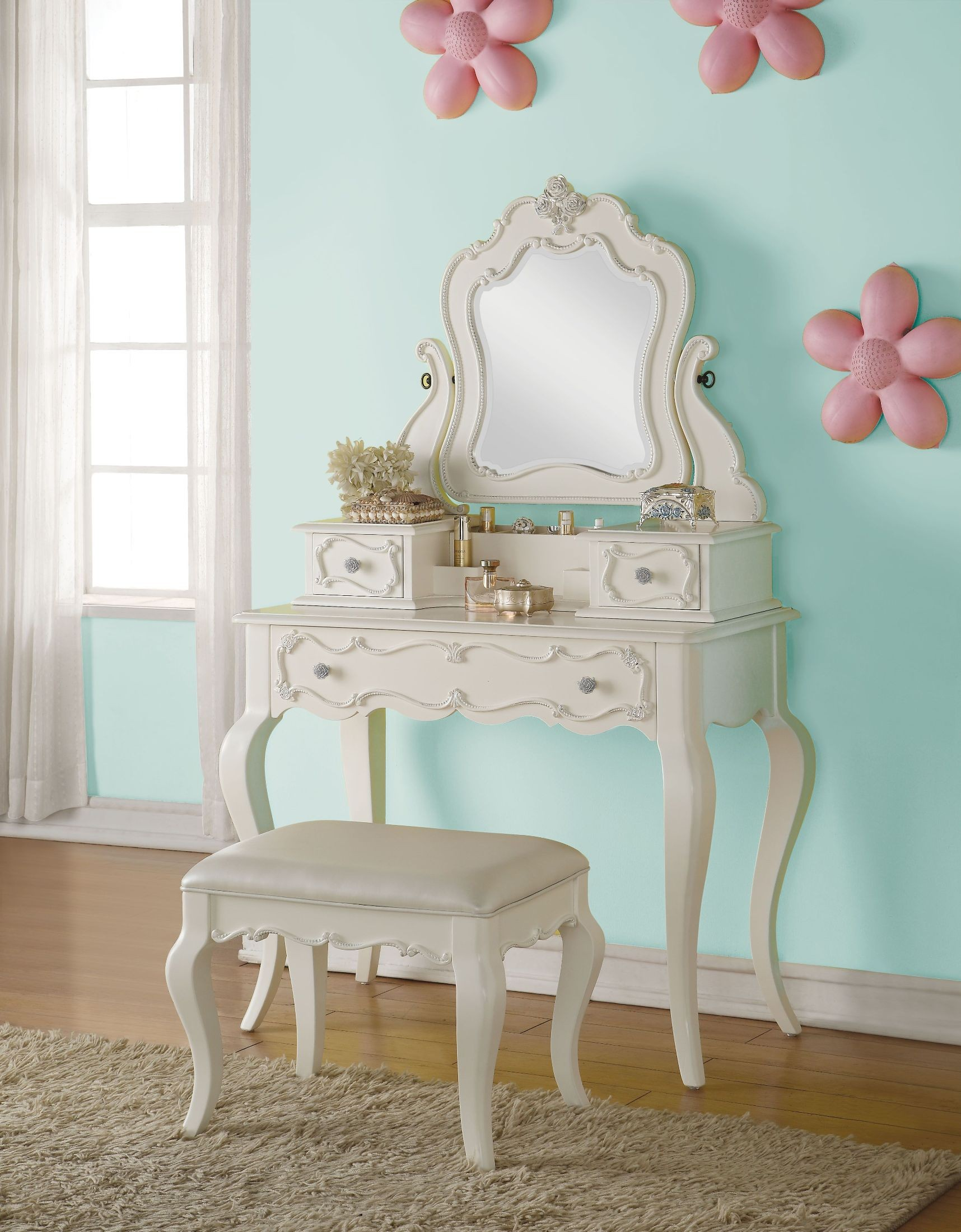 Edalene Pearl White Vanity Desk With Hutch And Mirror