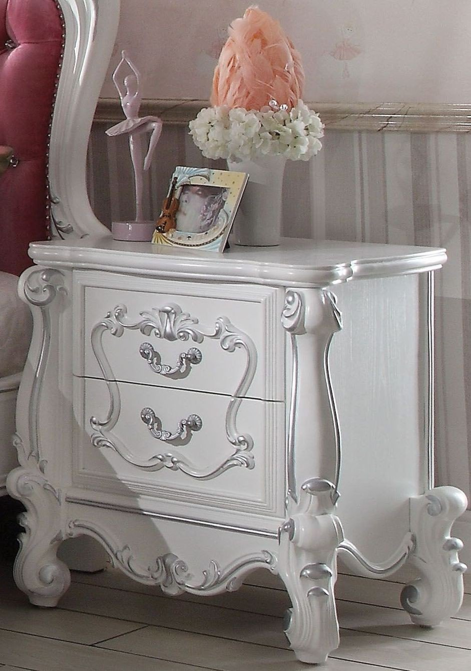 Versailles Pink And Antique White Upholstered Panel