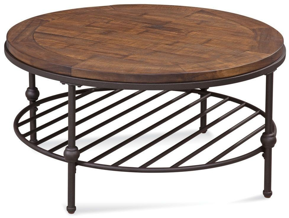 Boho Distressed Rustic Barnside Round Cocktail Table