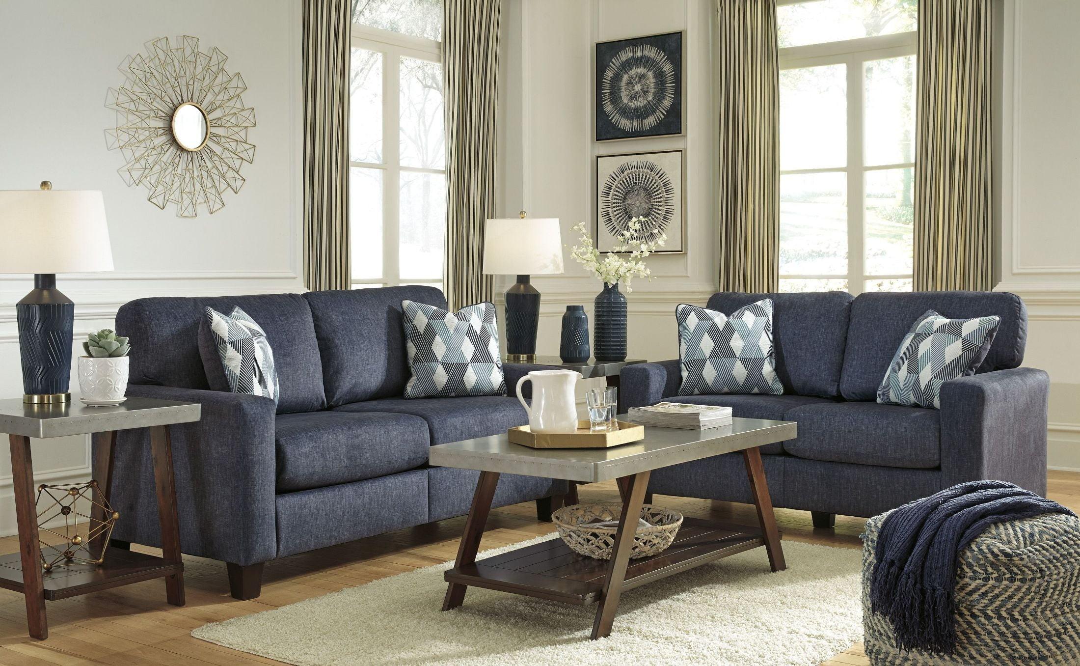 Signature Design by Ashley Burgos Blue Living Room Set - Burgos ...