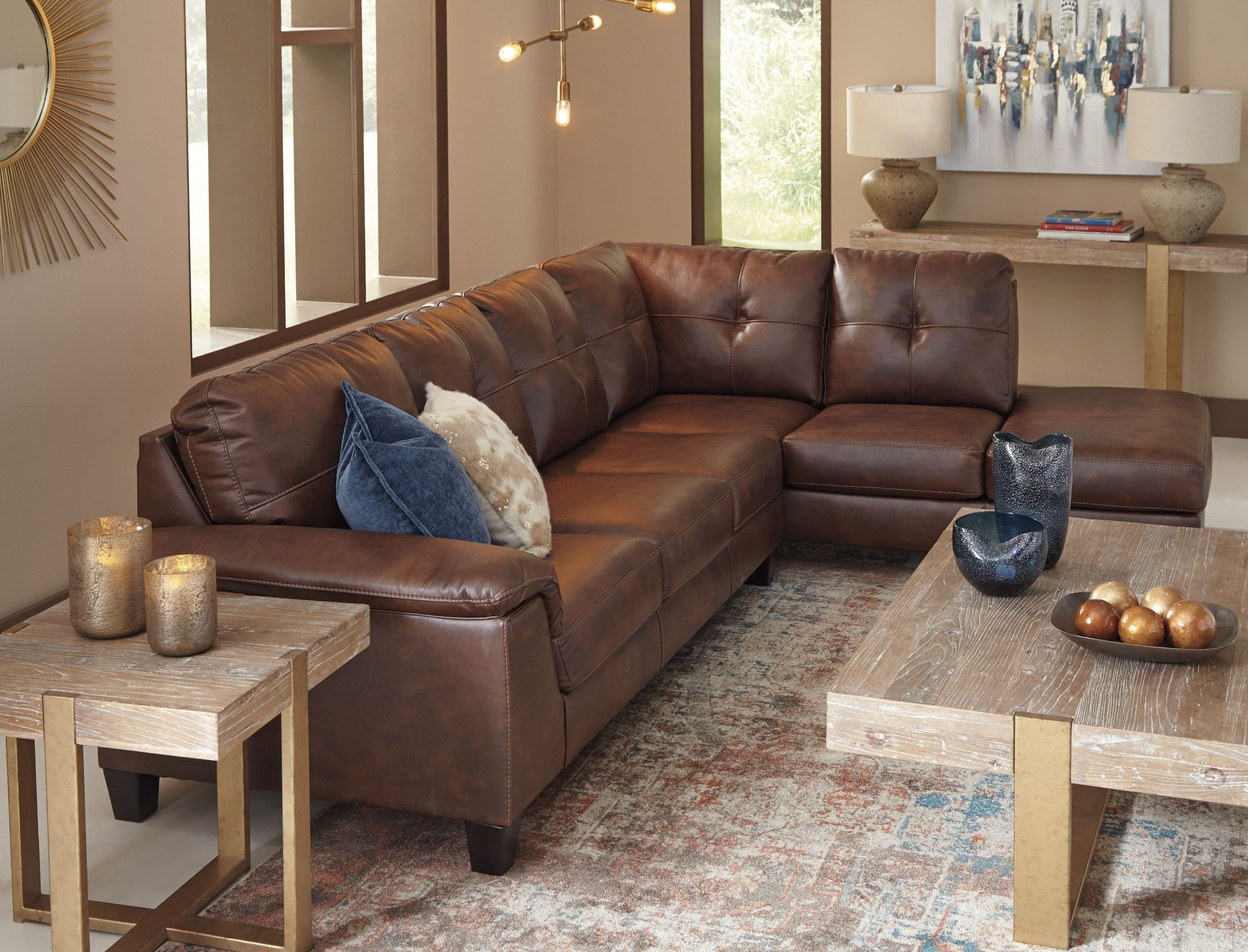 Signature Design By Ashley Goldstone Brown Laf Sectional