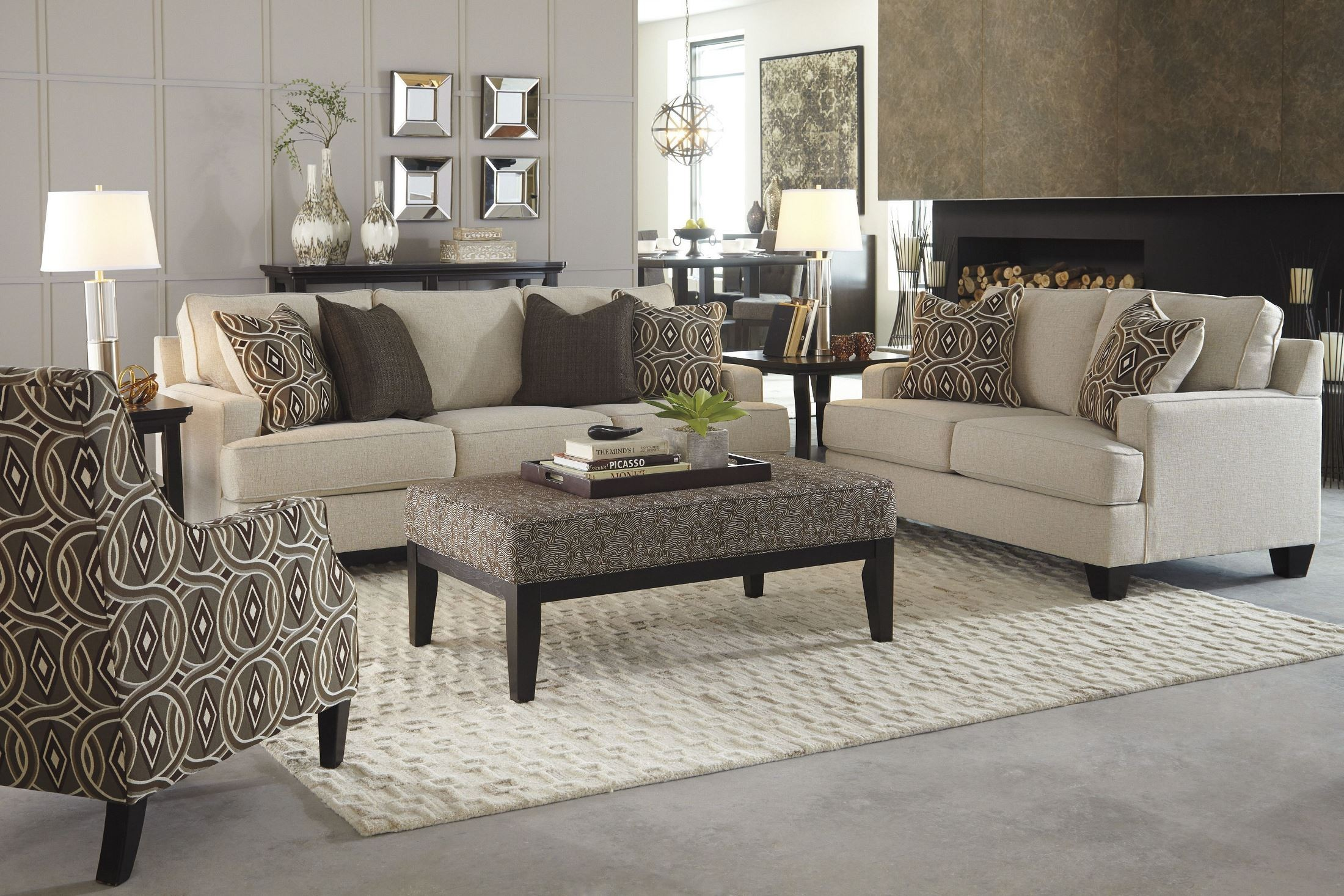 Signature Design By Ashley Bernat Linen Living Room Set