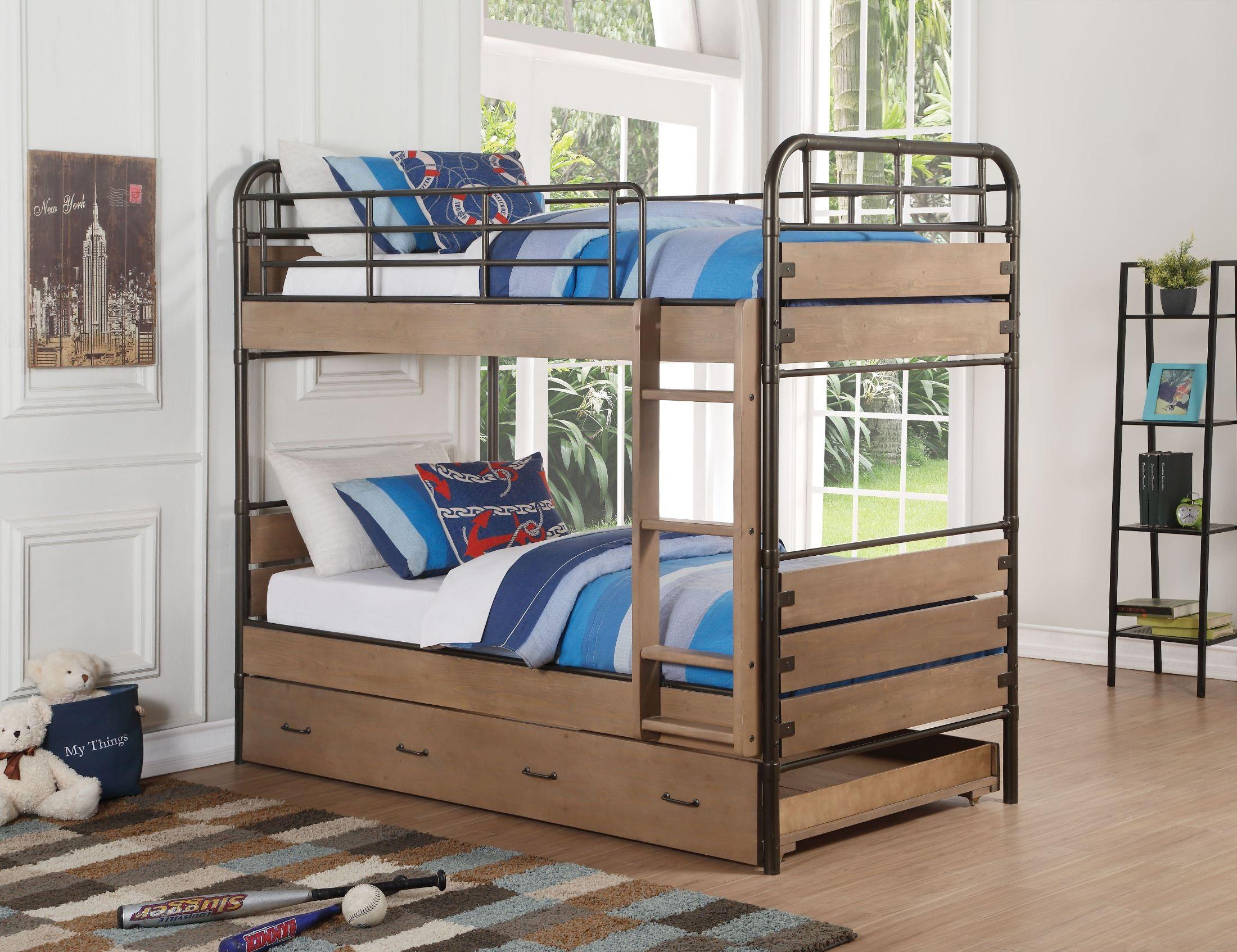 Antique Oak Twin Over Bunk Bed