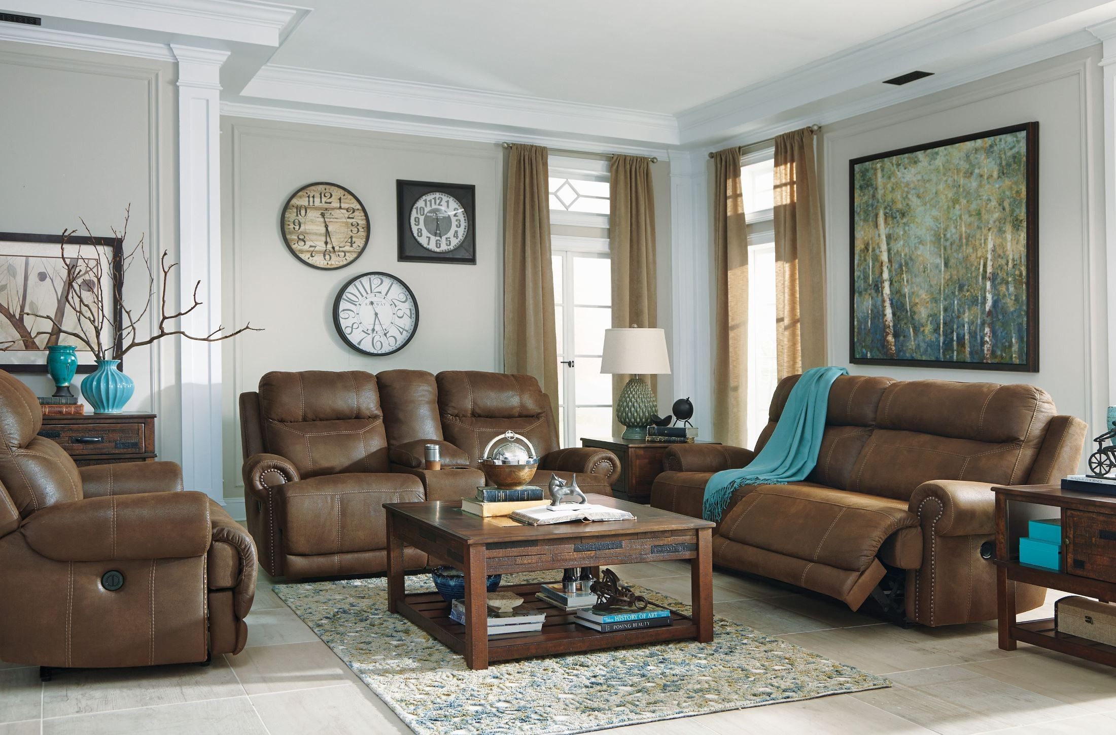 Austere Brown Double Power Reclining Loveseat With Console