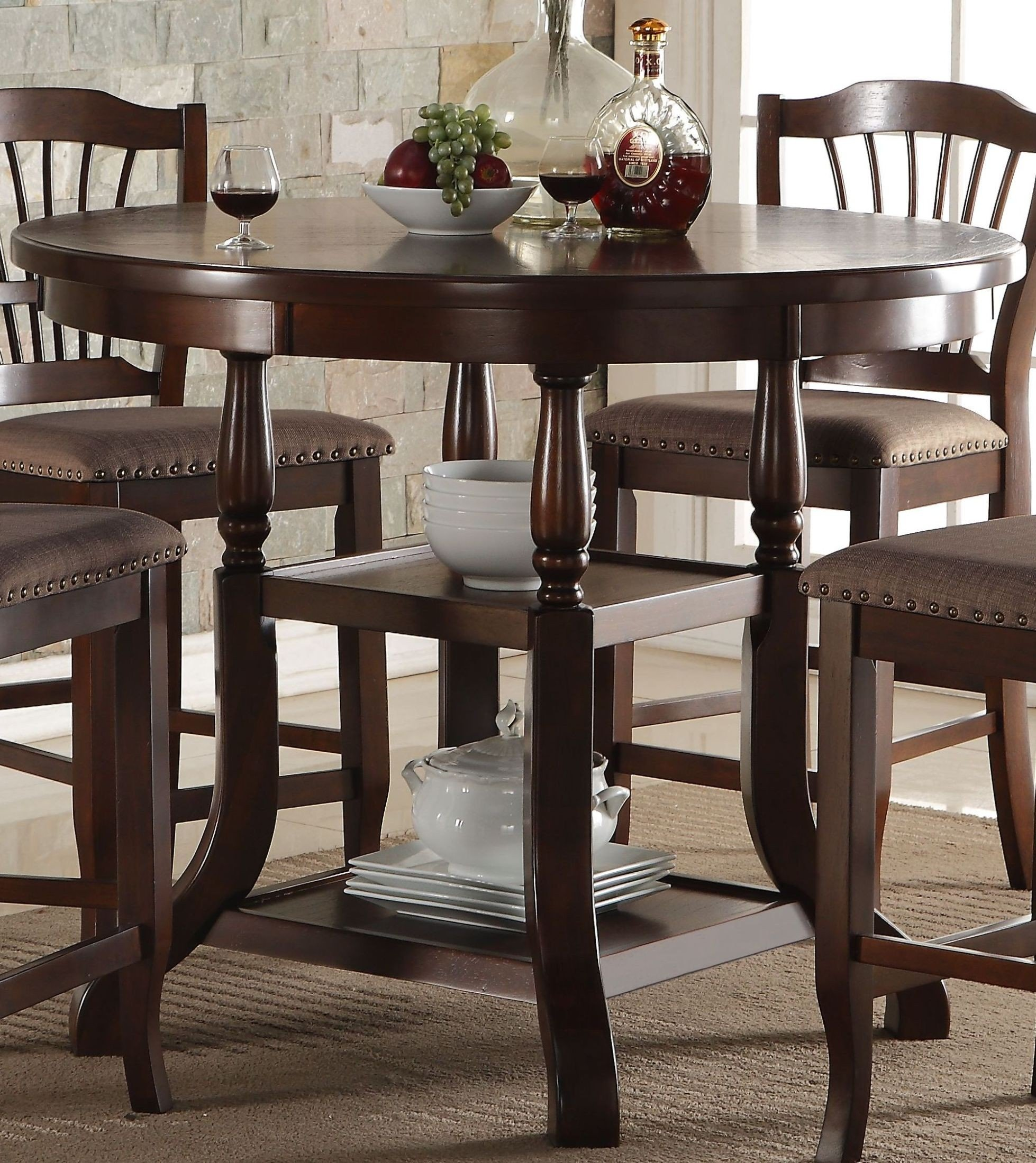 Tremendous Bixby Espresso Round Counter Height Dining Table Gmtry Best Dining Table And Chair Ideas Images Gmtryco
