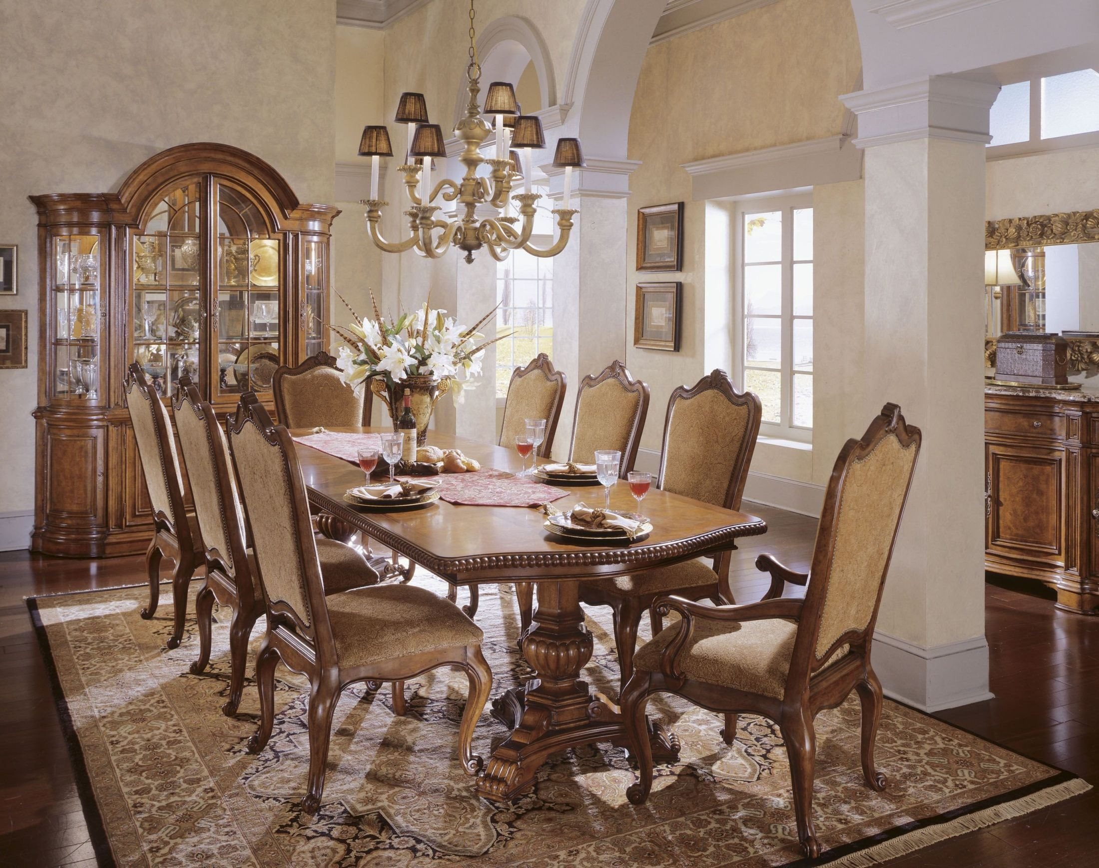 Villa Cortina Oval Double Pedestal Extendable Dining Room Table