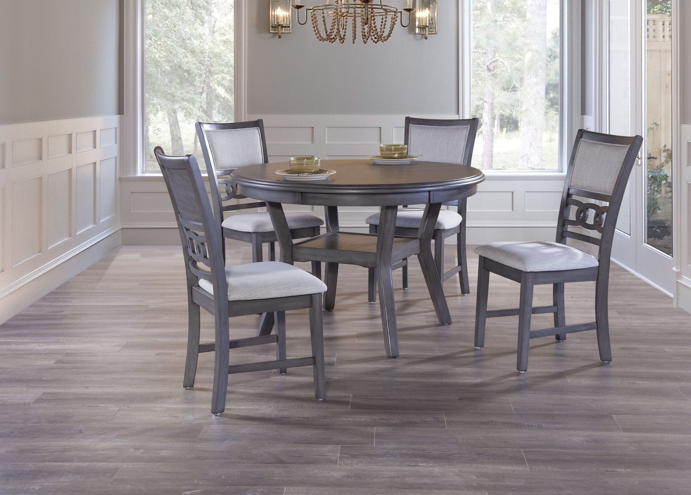 Gia Gray 5 Piece Round Dining Room Set 1stopbedrooms