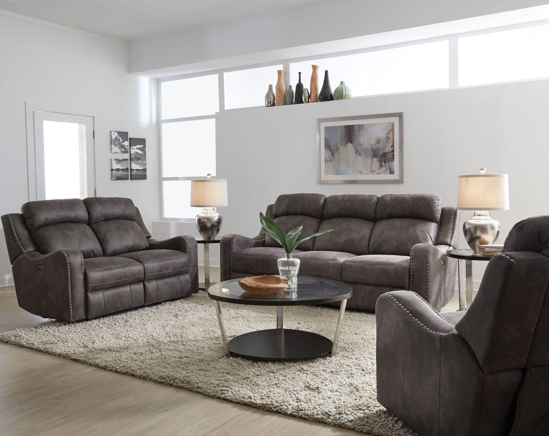 Standard Furniture Bankston Gray Power Reclining Living Room Set ...