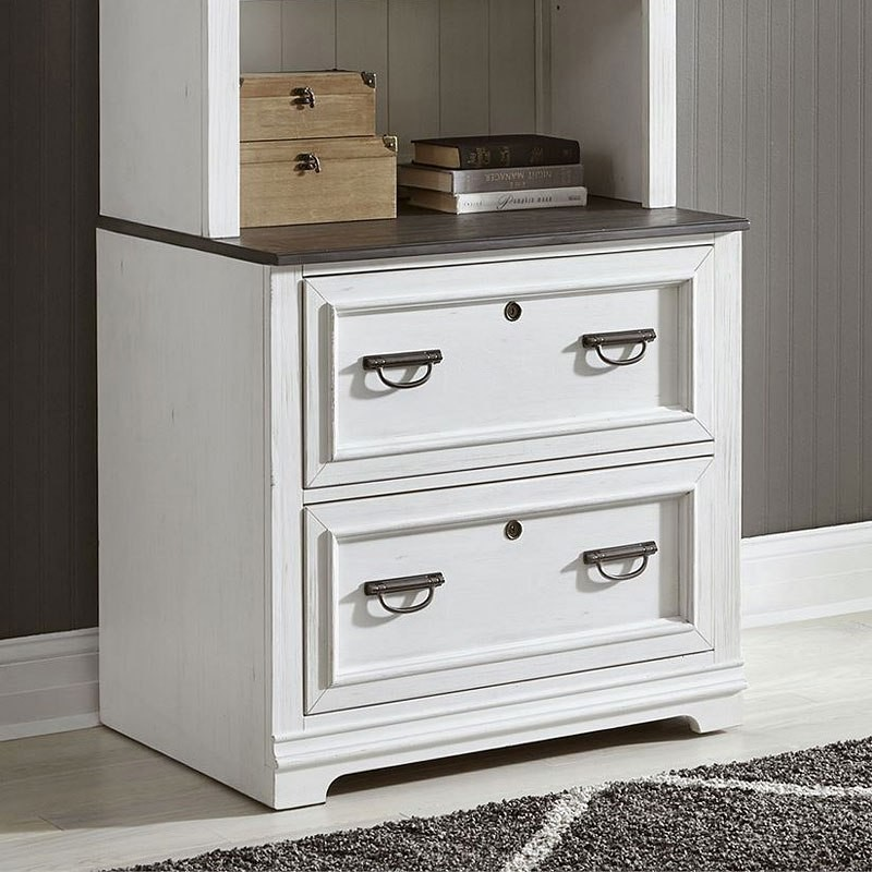 Allyson Park Wirebrushed White Bunching, White Wood File Cabinet