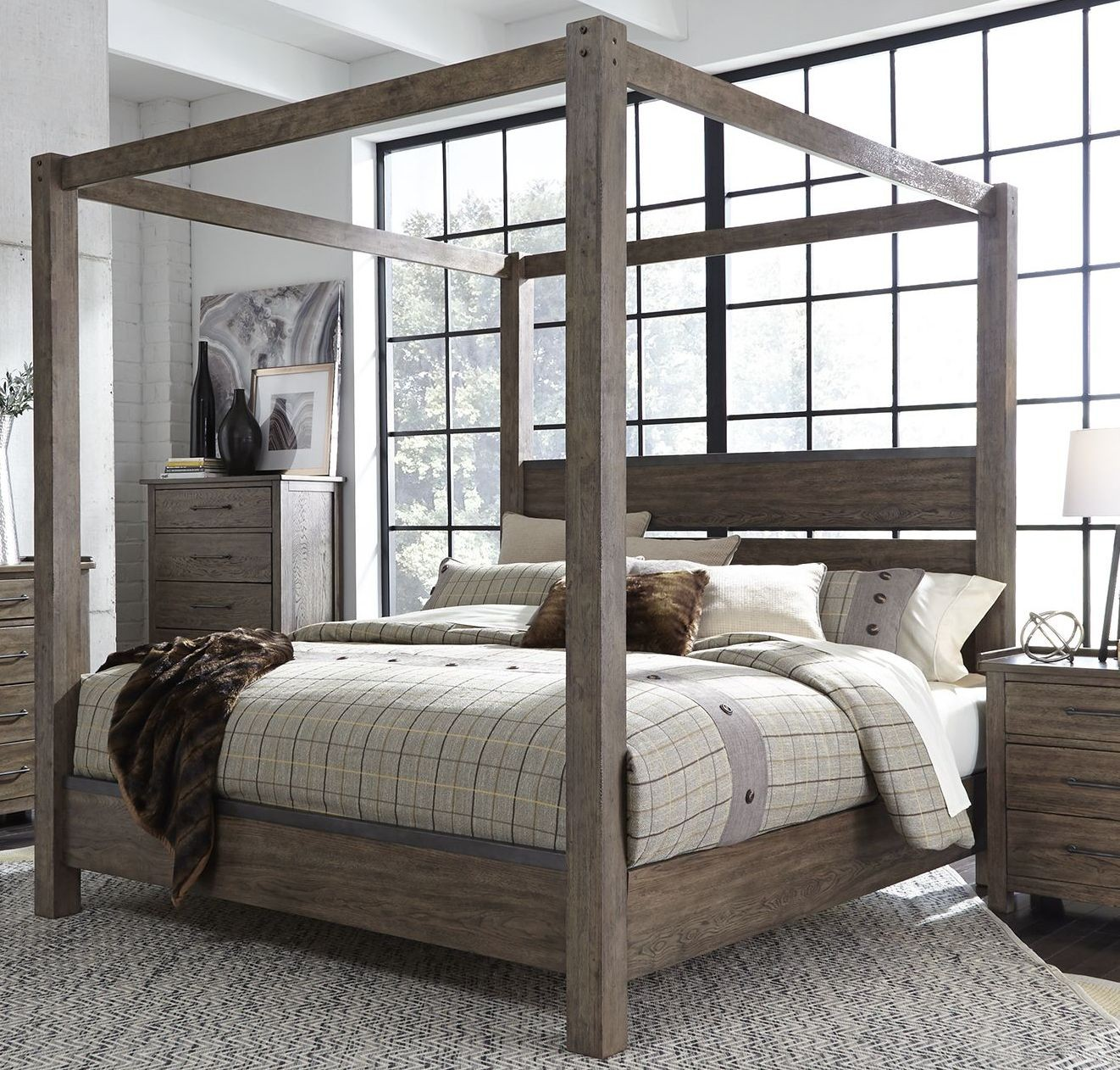 Sonoma road beaten bark canopy bedroom set 1stopbedrooms - Bedroom furniture sets buy now pay later ...
