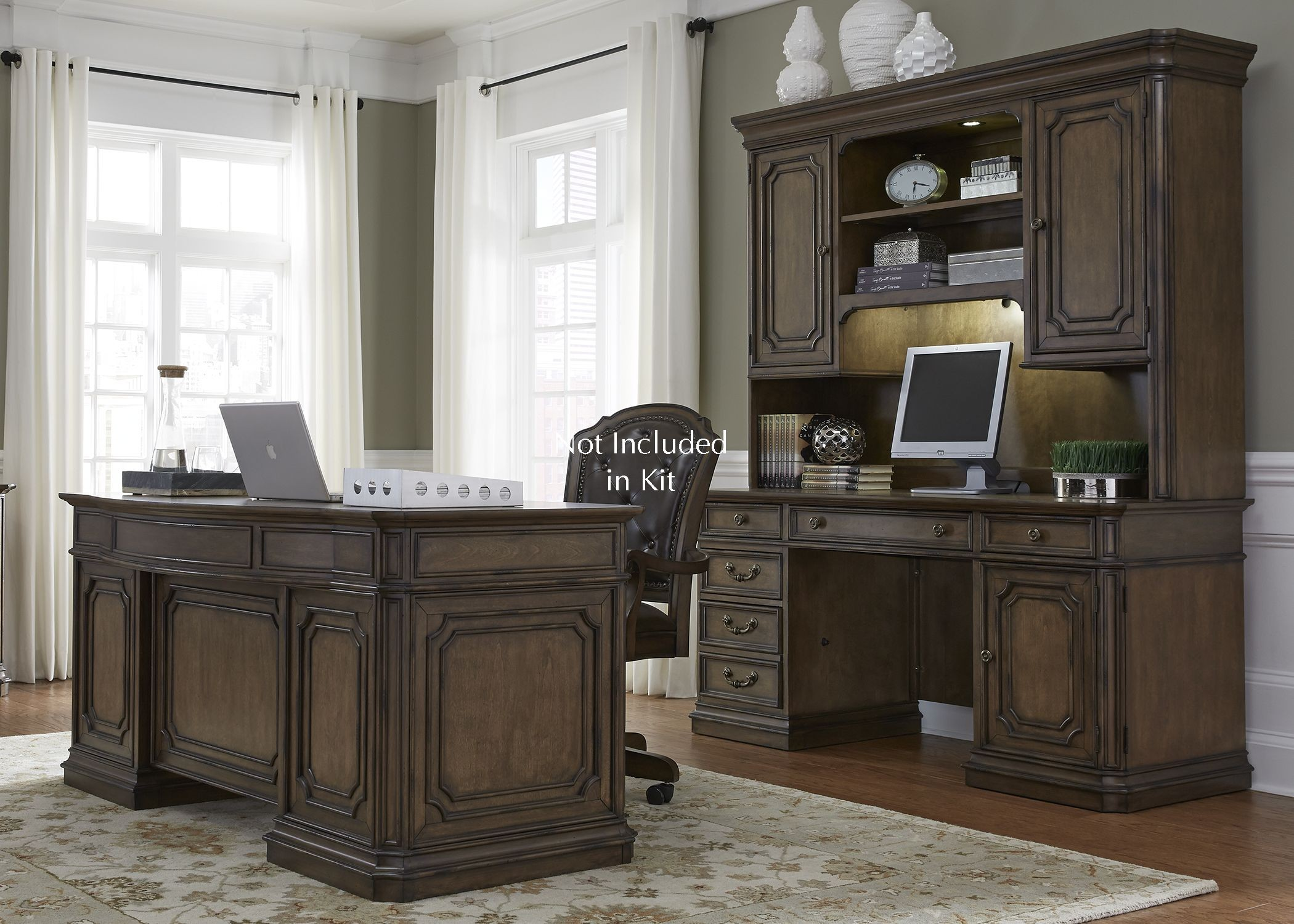 Amelia Antique Toffee Jr Executive Home Office Set Media Gallery