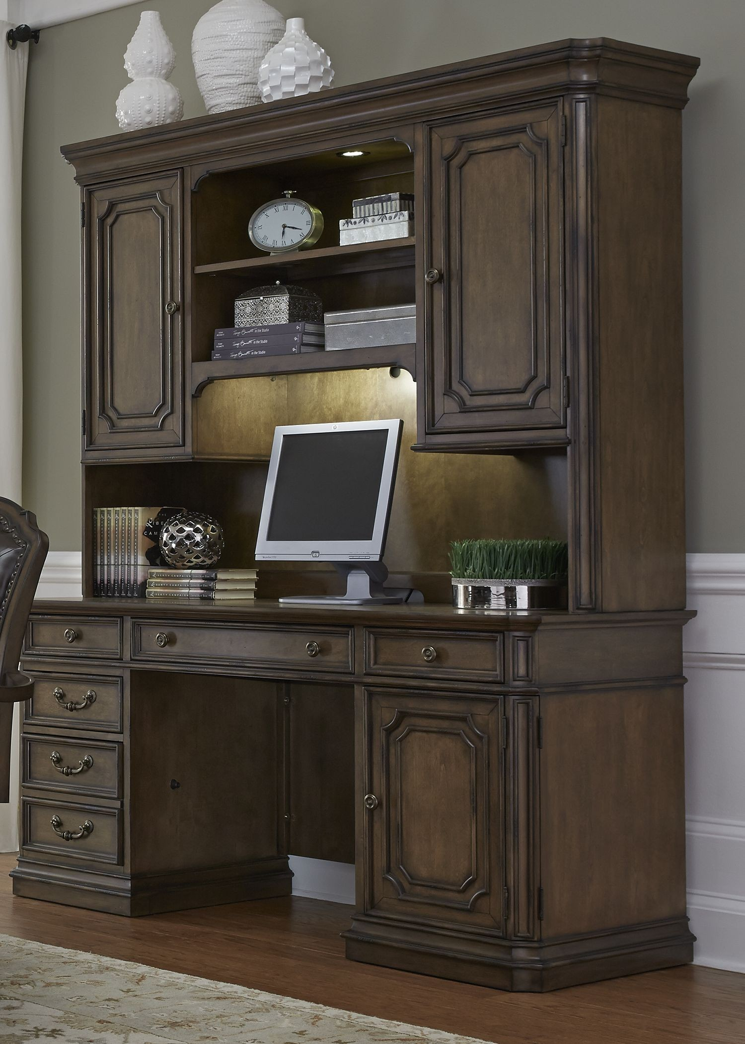 Amelia Antique Toffee Jr Executive Home Office Set Media Gallery 3