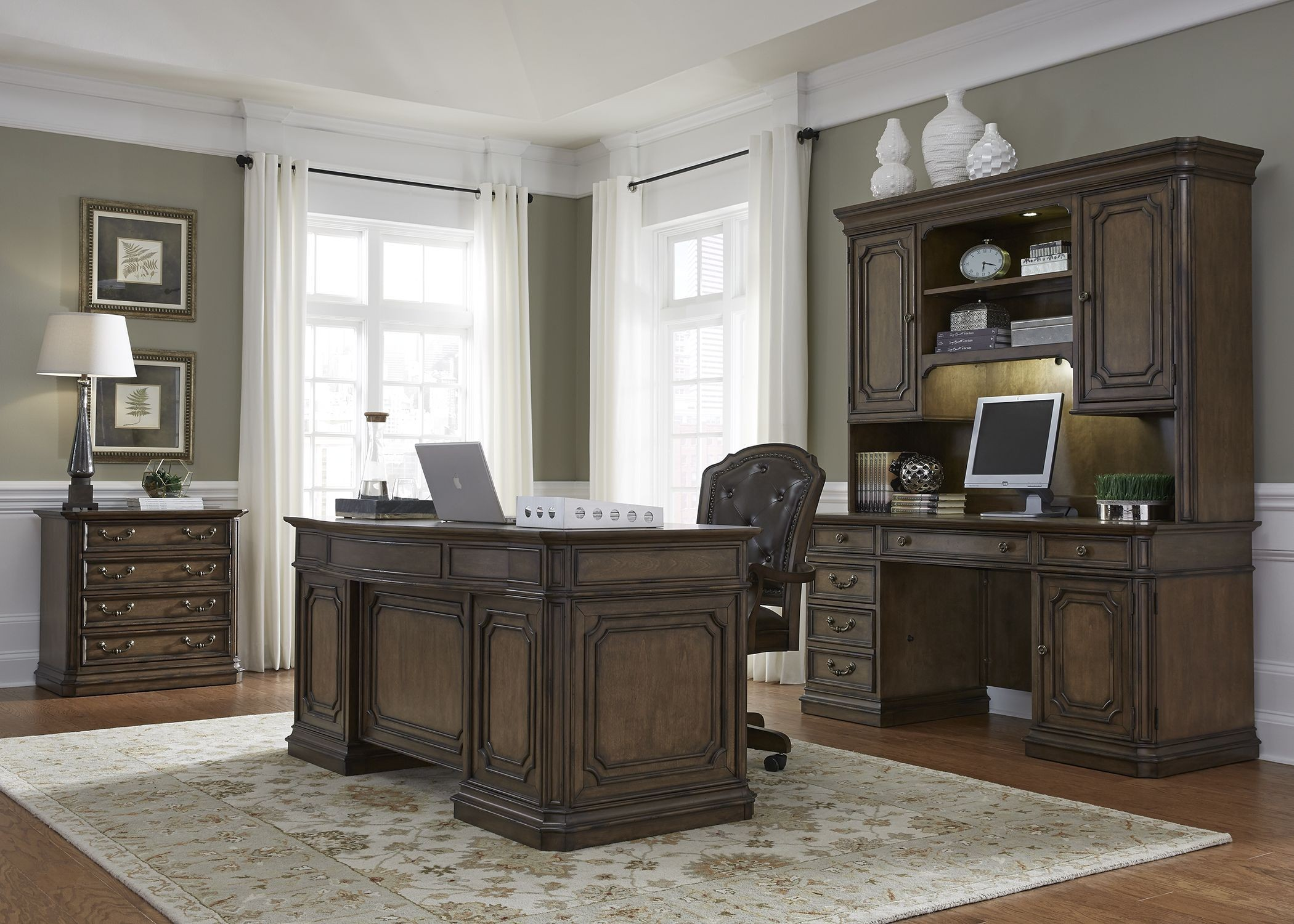 Amelia Antique Toffee Jr Executive Home Office Set Media Gallery 1